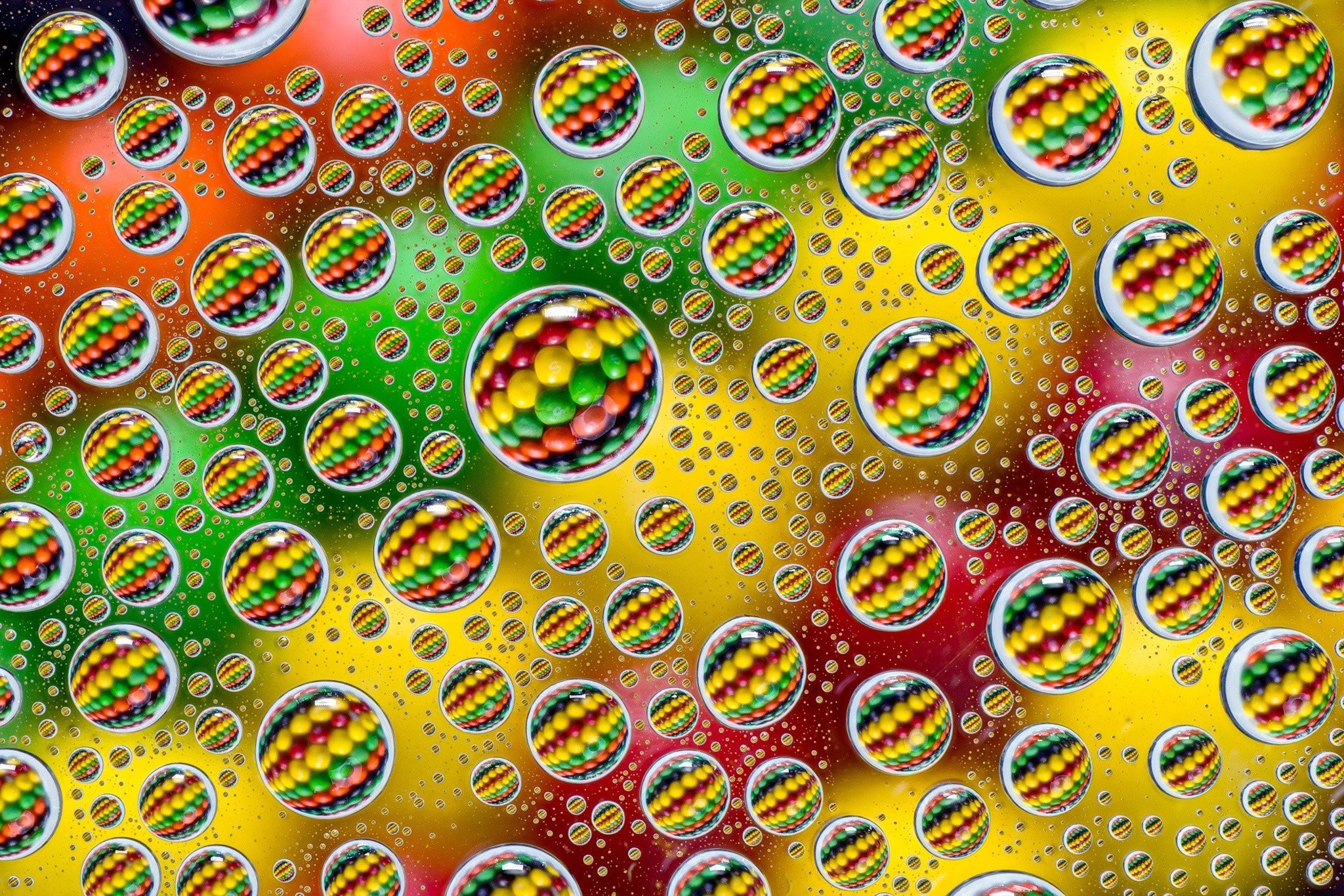Res: 2048x1365, colorful, Abstract, Water drops, Skittles, Photography, Circle, Depth of  field, Reflection Wallpapers HD / Desktop and Mobile Backgrounds