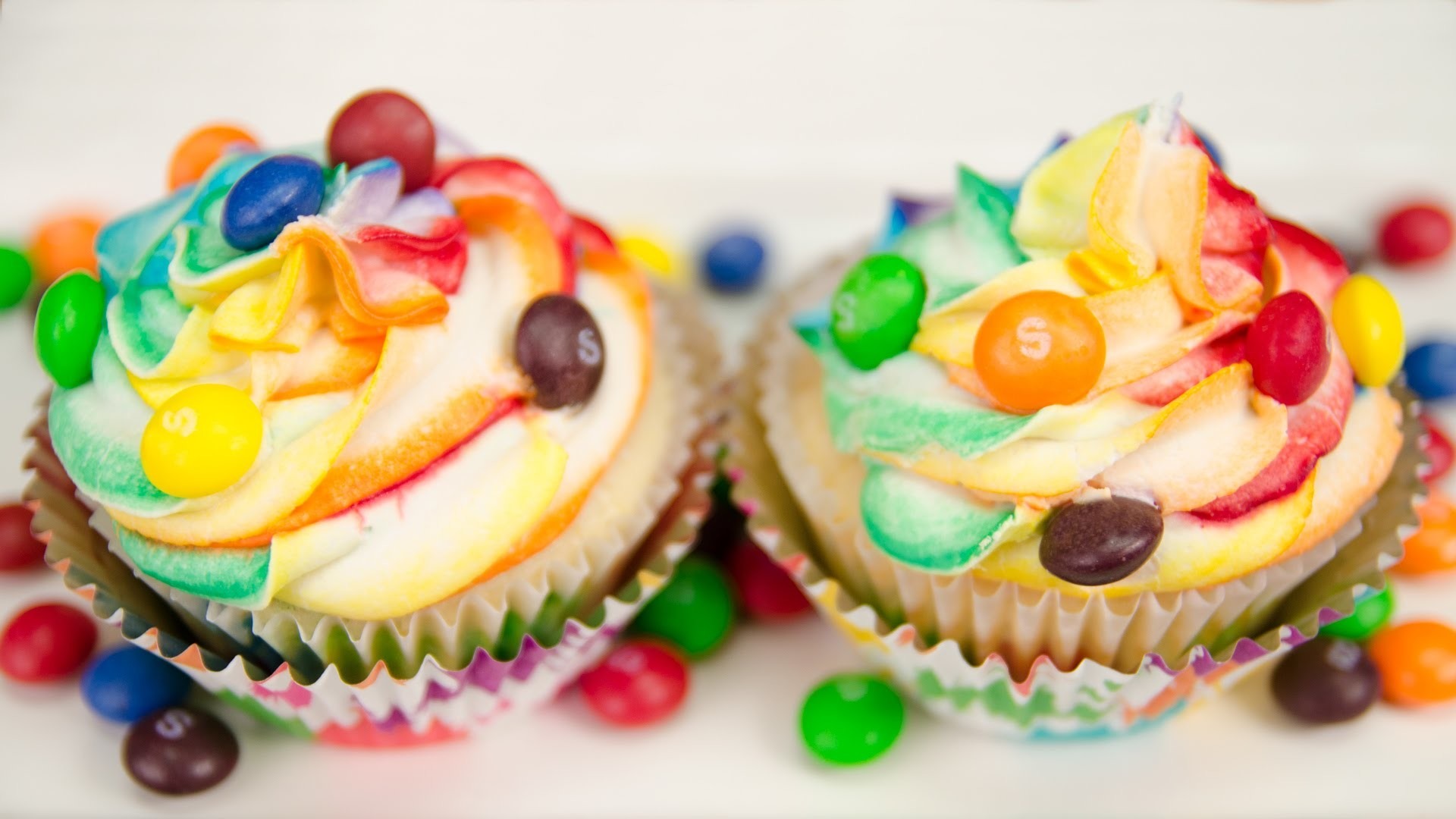 Res: 1920x1080, Skittles Cupcakes with Rainbow Icing from Cookies Cupcakes and Cardio