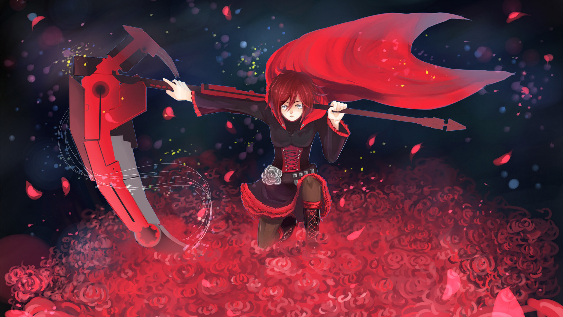Res: 1920x1080,  wallpaper Sitting, red, anime girl, Ruby Rose, RWBY