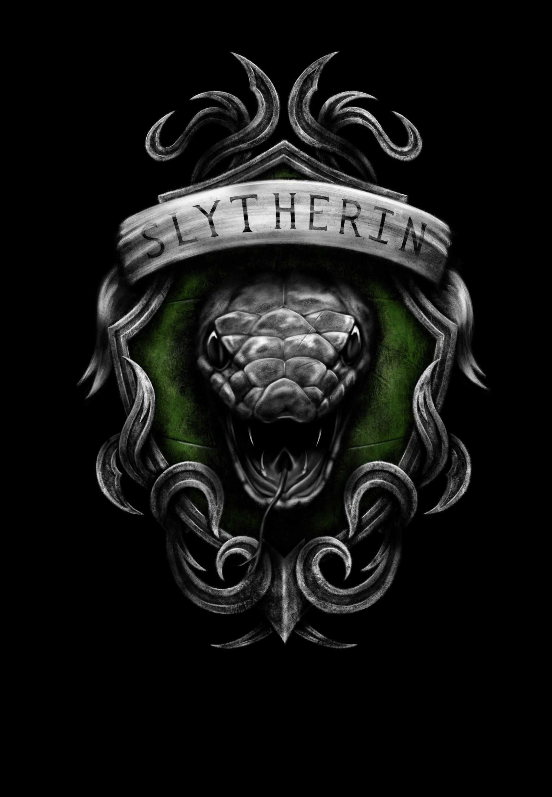 Res: 1920x2773, Slytherin iPhone Wallpaper Lovely Digital Illustration Fan Art A Redesign  Of Each House Banner From Of