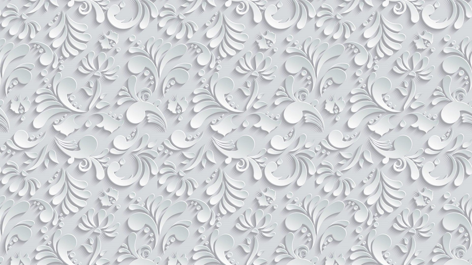 Res: 1920x1080, Vector Floral 3d Seamless Pattern on grey background wallpaper hd  widescreen high quality desktop 3d , leaves, texture, volume, drop shadow,  flower,