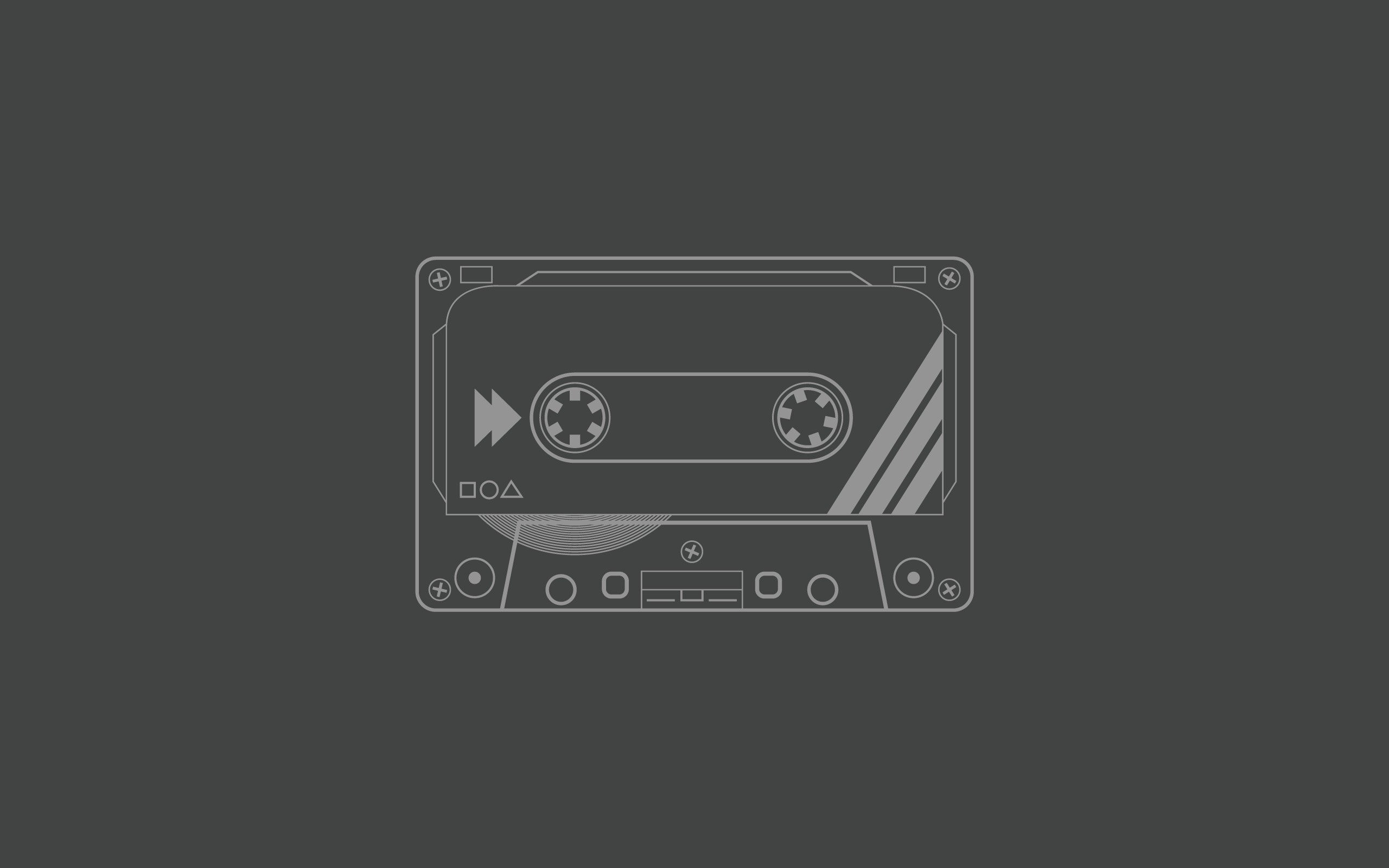 Res: 2560x1600, audio tapes cassette grey background minimalistic