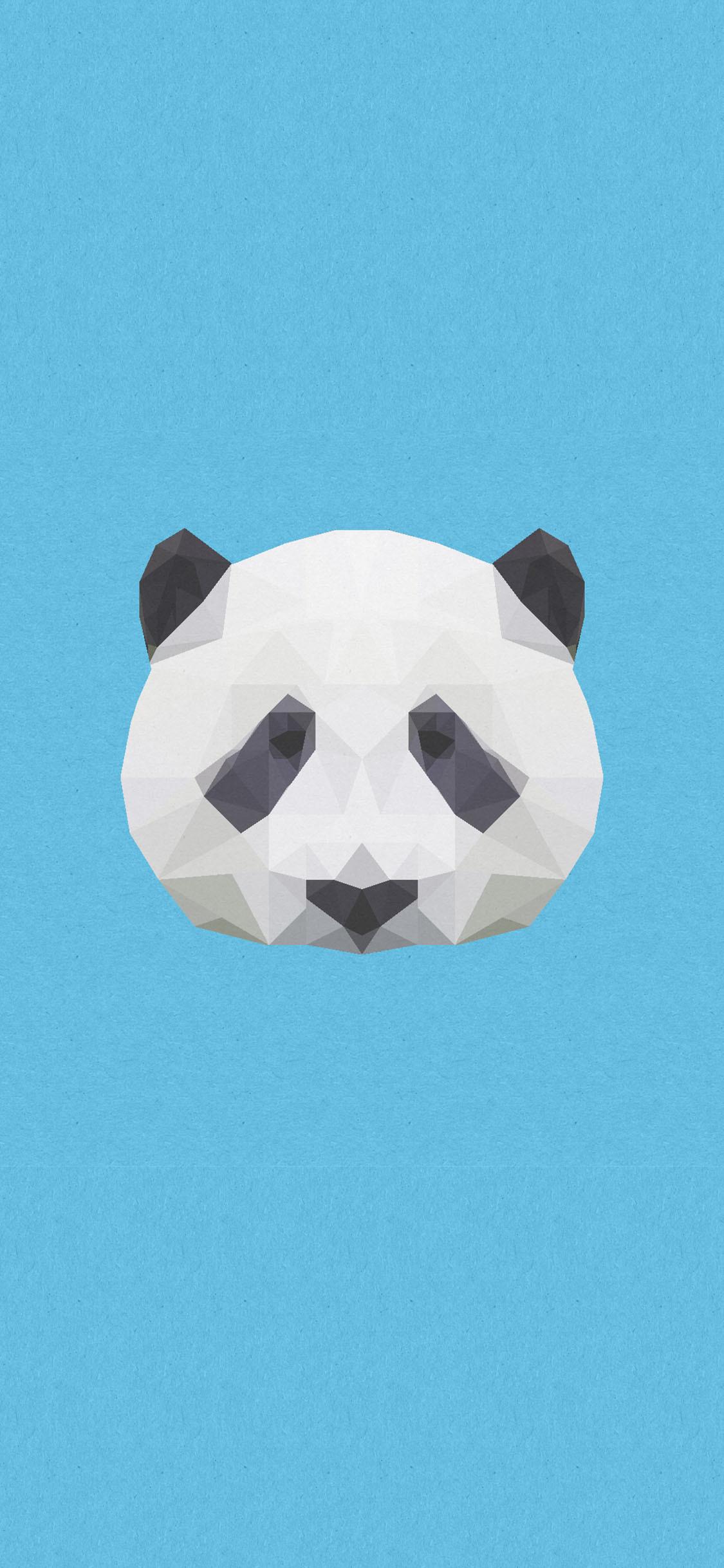 Res: 1125x2436, Lowpoly Panda iPhone X Wallpaper