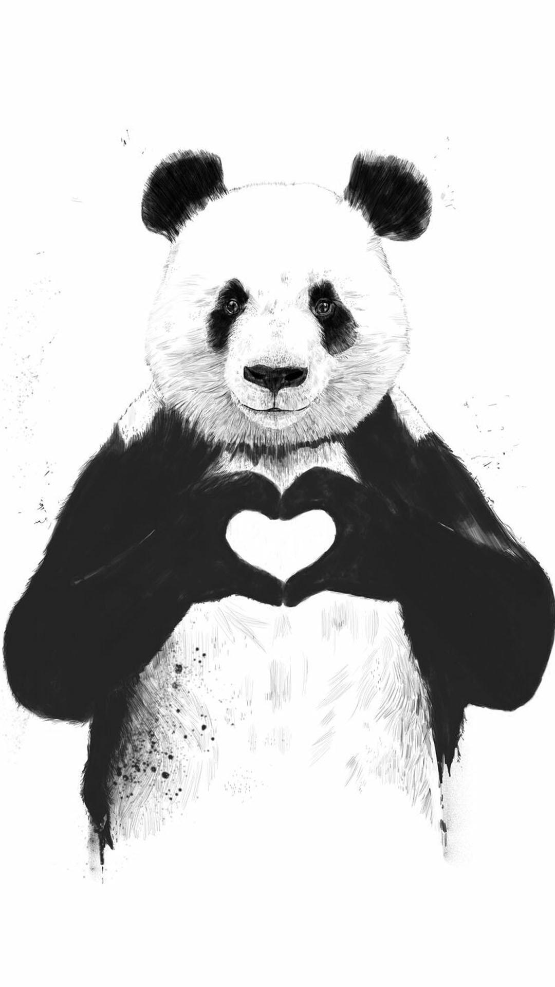 Res: 1080x1920, iPhone wallpaper panda heart Panda