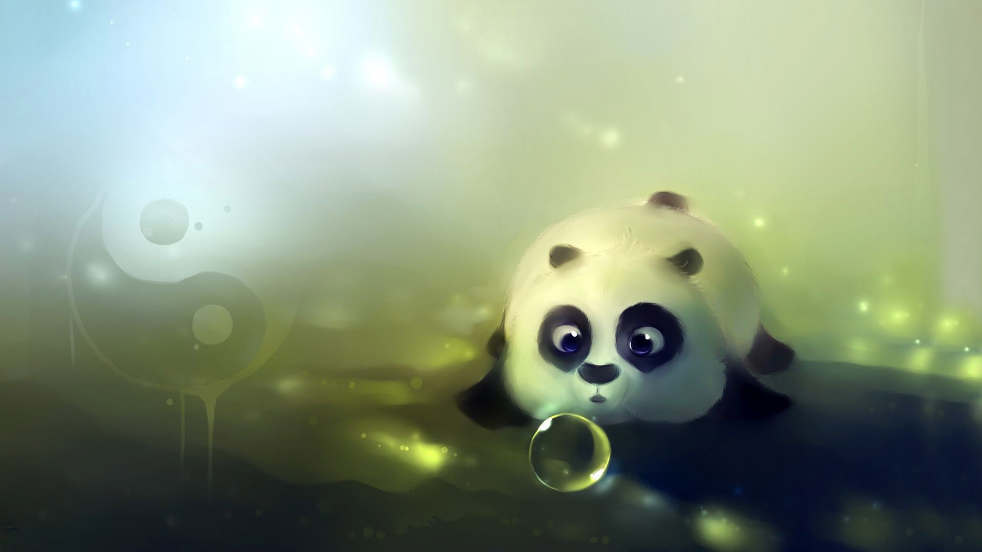Res: 1920x1080,  Cute panda playing with bubbles wallpaper #14509
