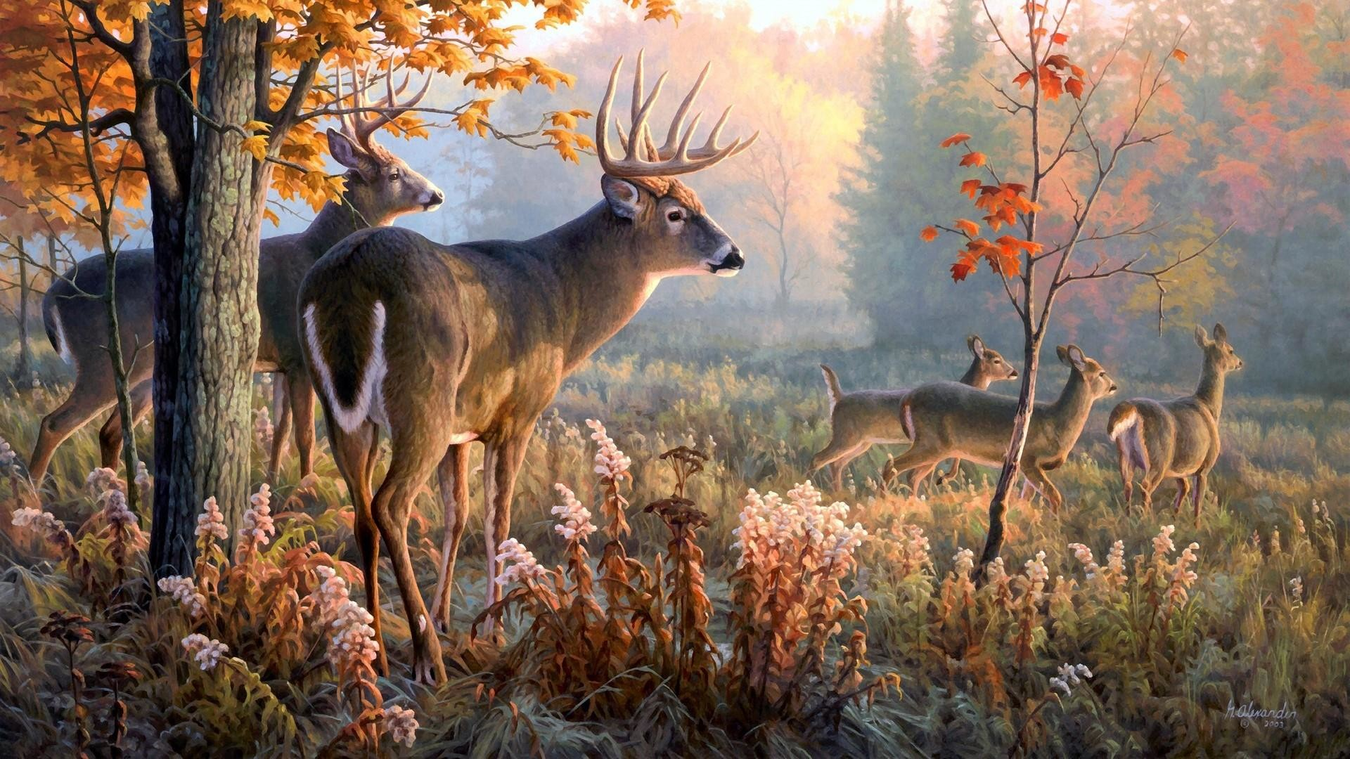 Res: 1920x1080, Deers In The Forest - Nature Painting Art Wallpaper   Wallpaper Studio 10    Tens of thousands HD and UltraHD wallpapers for Android, Windows and Xbox