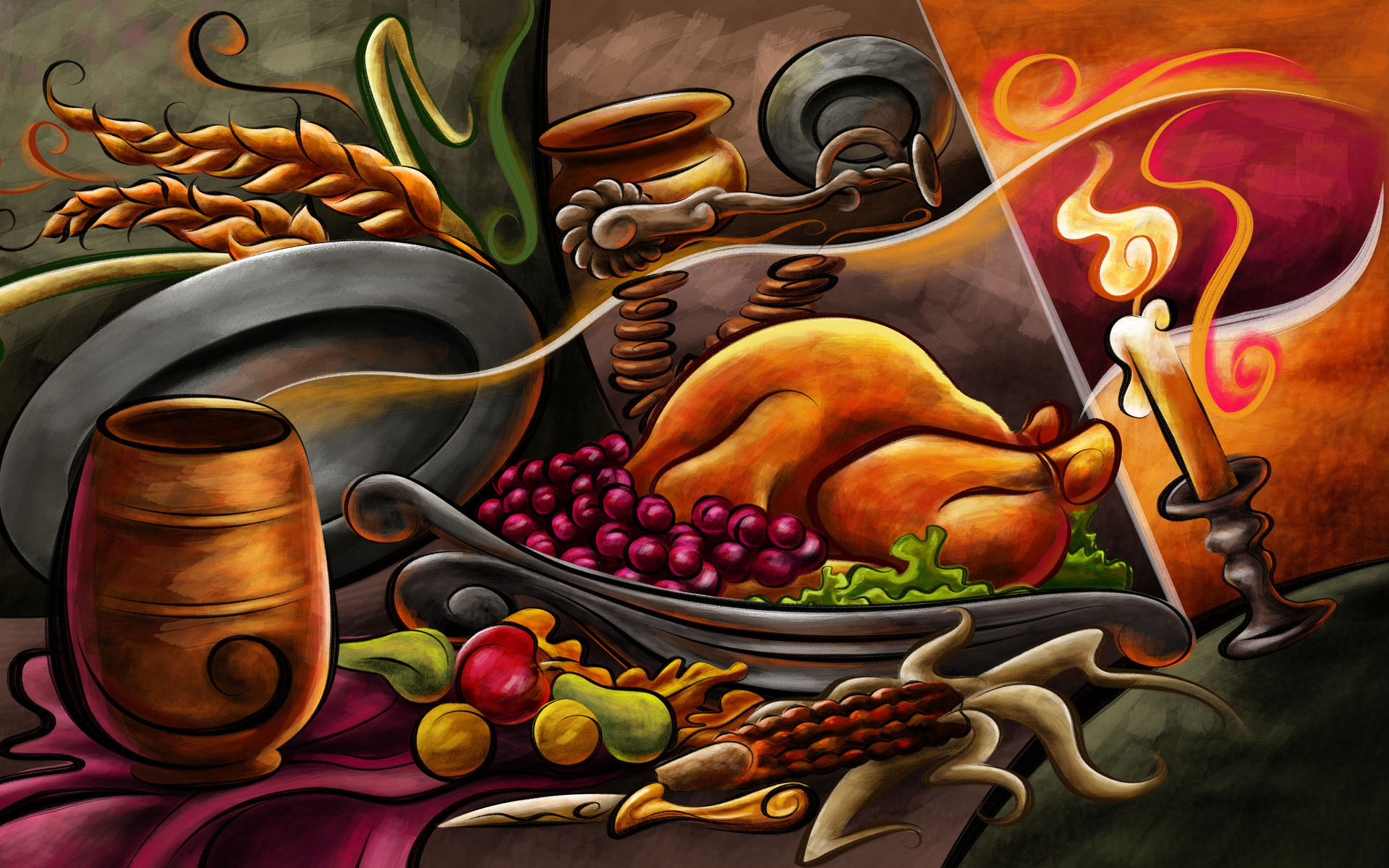 Res: 1920x1200, Thanksgiving-Dinner-image-holiday-2012