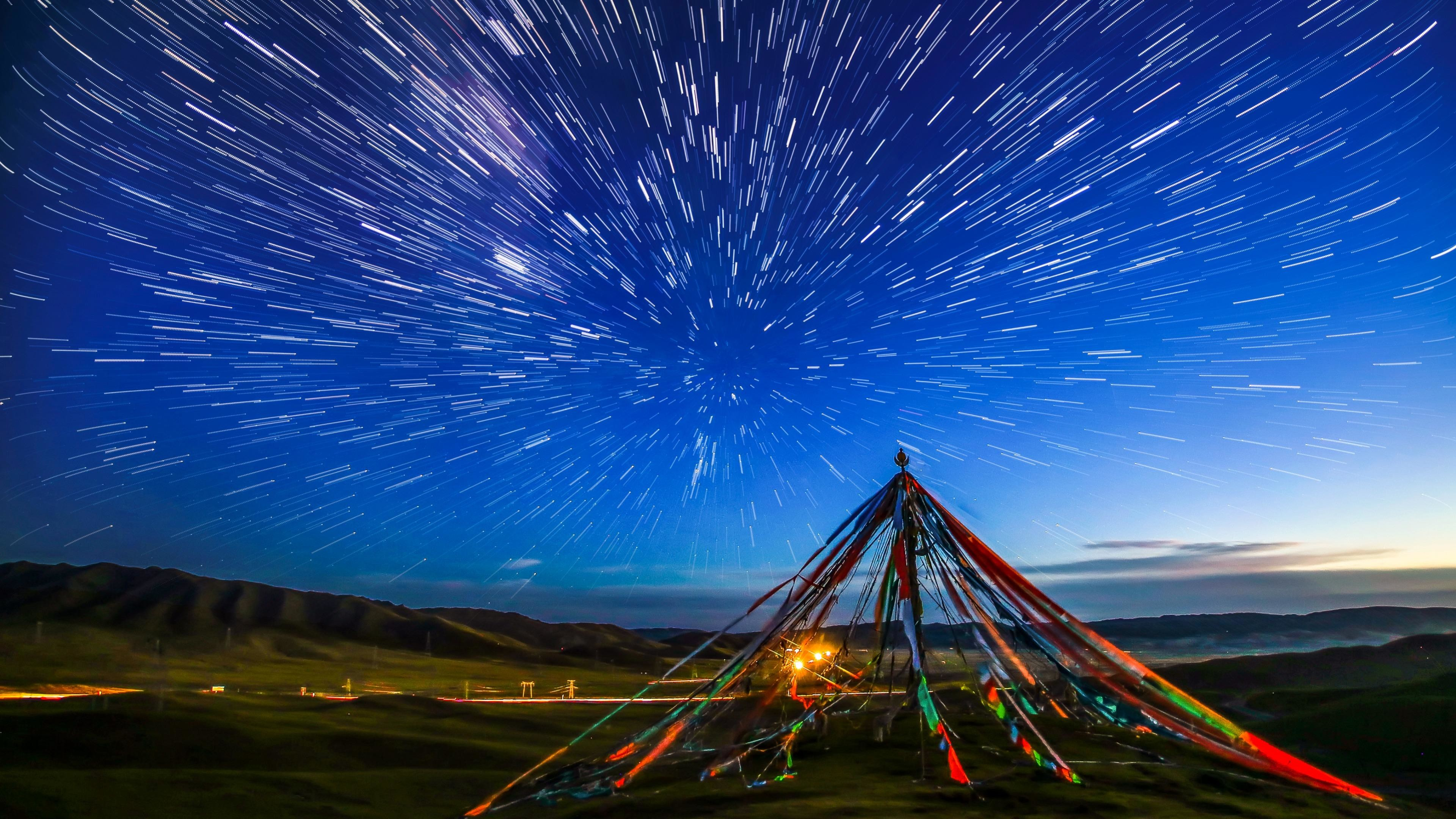 Res: 3840x2160, Prayer Flags And Star Trails Wallpaper | Wallpaper Studio 10 | Tens of  thousands HD and UltraHD wallpapers for Android, Windows and Xbox