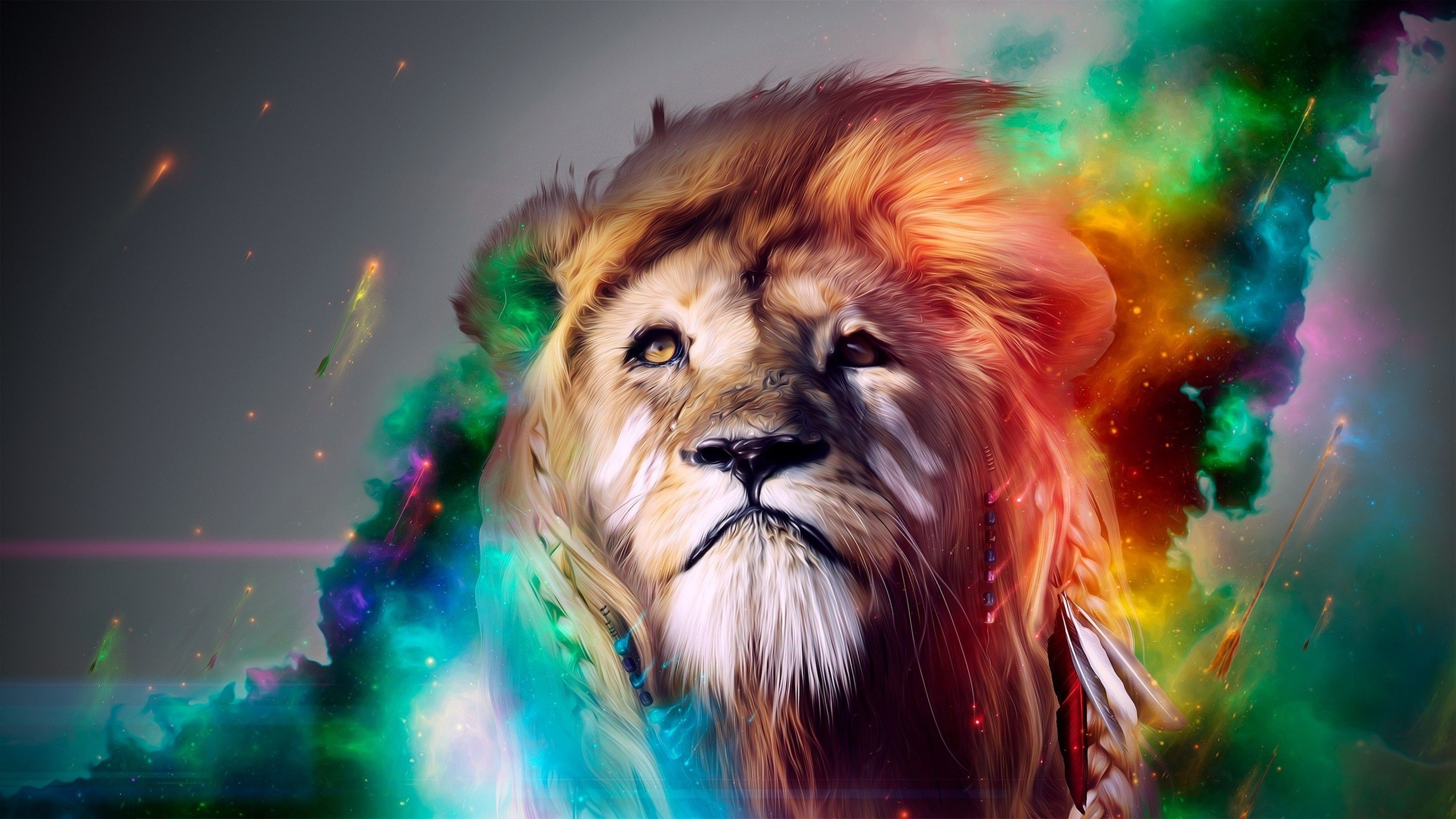 Res: 3840x2160,  Preview wallpaper lion, big cat, face, smoke, colored