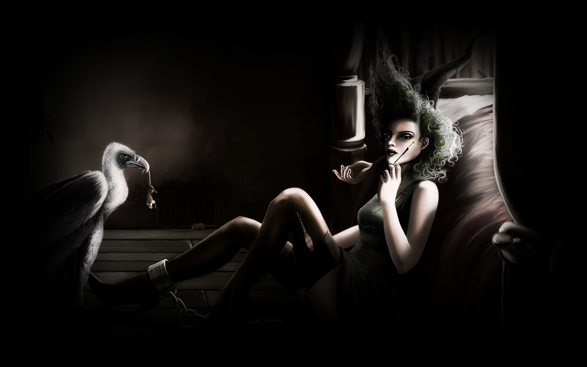 Res: 1920x1200, ... Cigarette Smoke Art; Smoking girl beside the bed