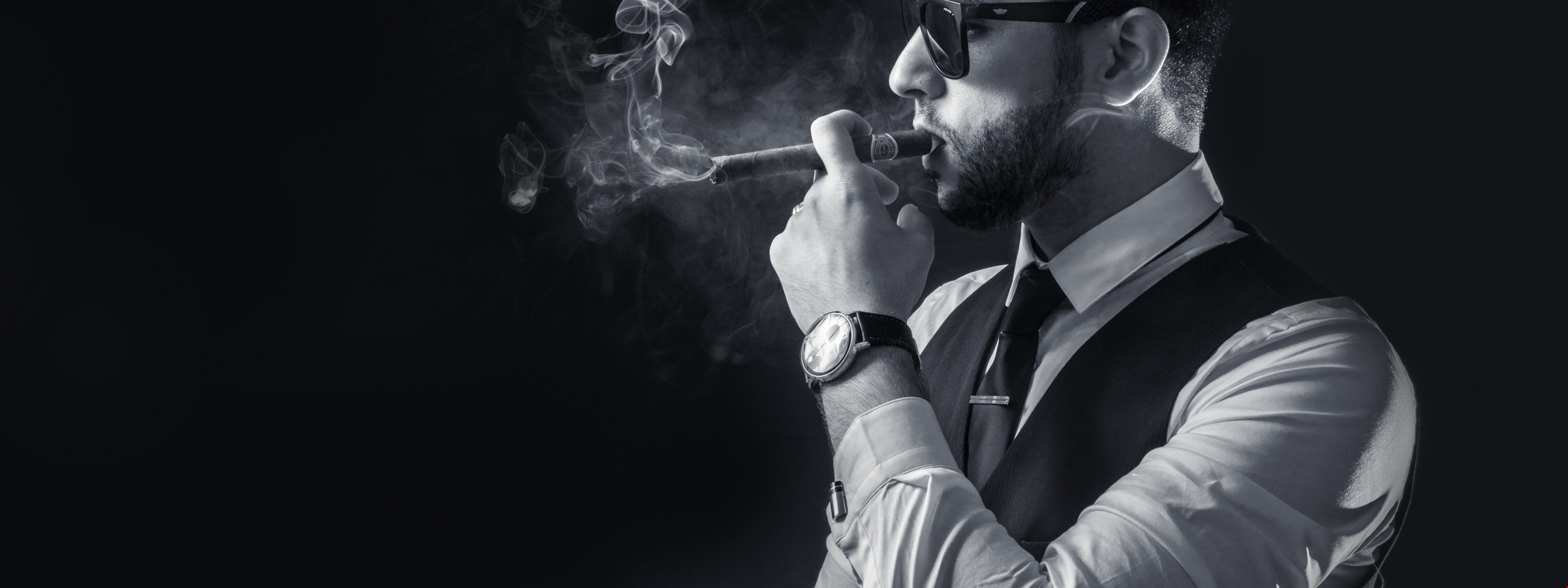 Res: 3200x1200, Download 5k Smoke Men - Black and White Wallpapers HD