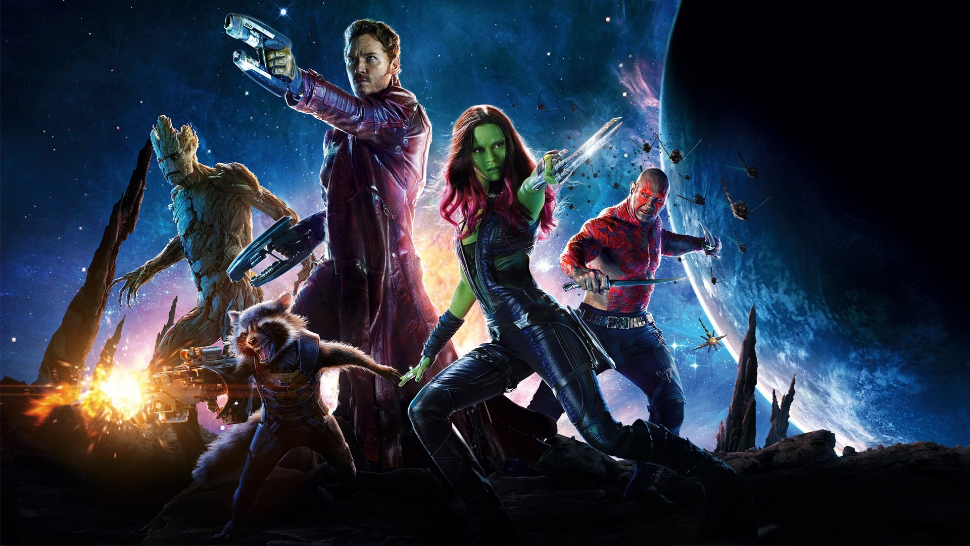 Res: 1920x1080, Movie - Guardians of the Galaxy Rocket Raccoon Groot Dave Bautista Drax The  Destroyer Peter Quill