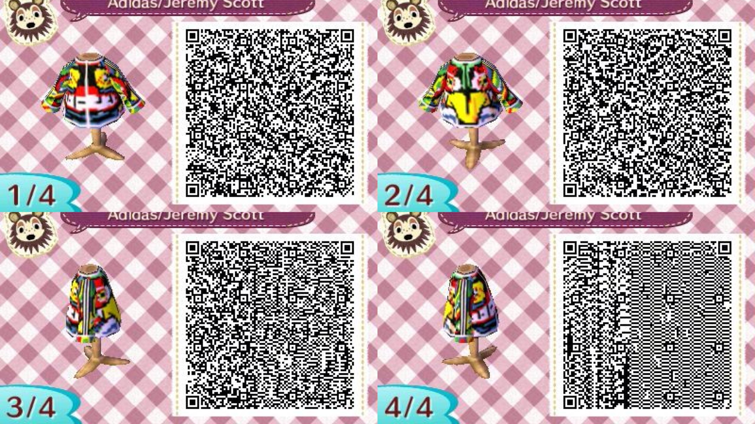 Res: 2560x1440, Jeremy Scott Jacket for Adidas. Animal Crossing New Leaf QR code