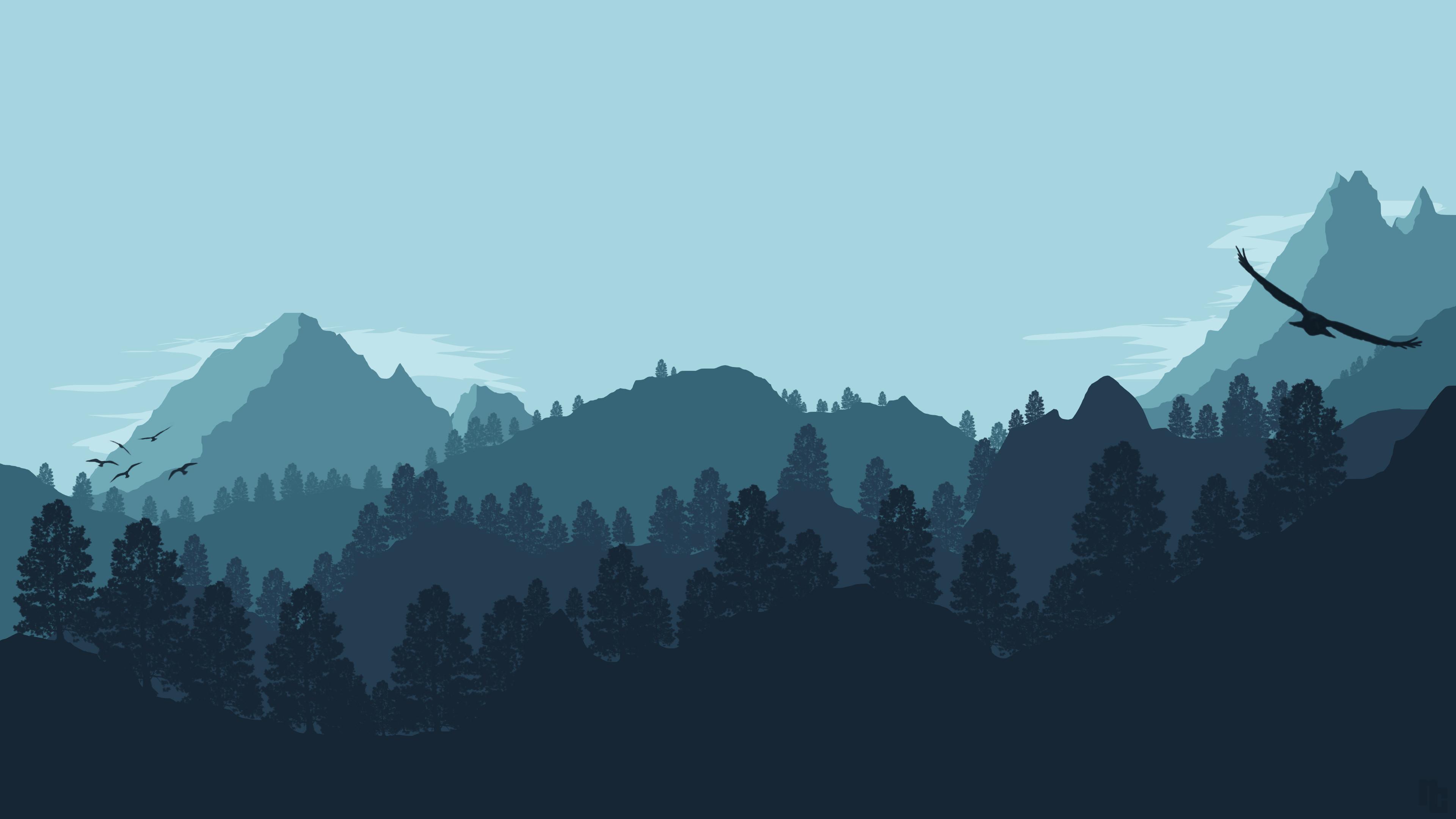 Res: 3840x2160, Künstlerisch - Mountain Wald Landschaft Vektor Minimalist Wallpaper