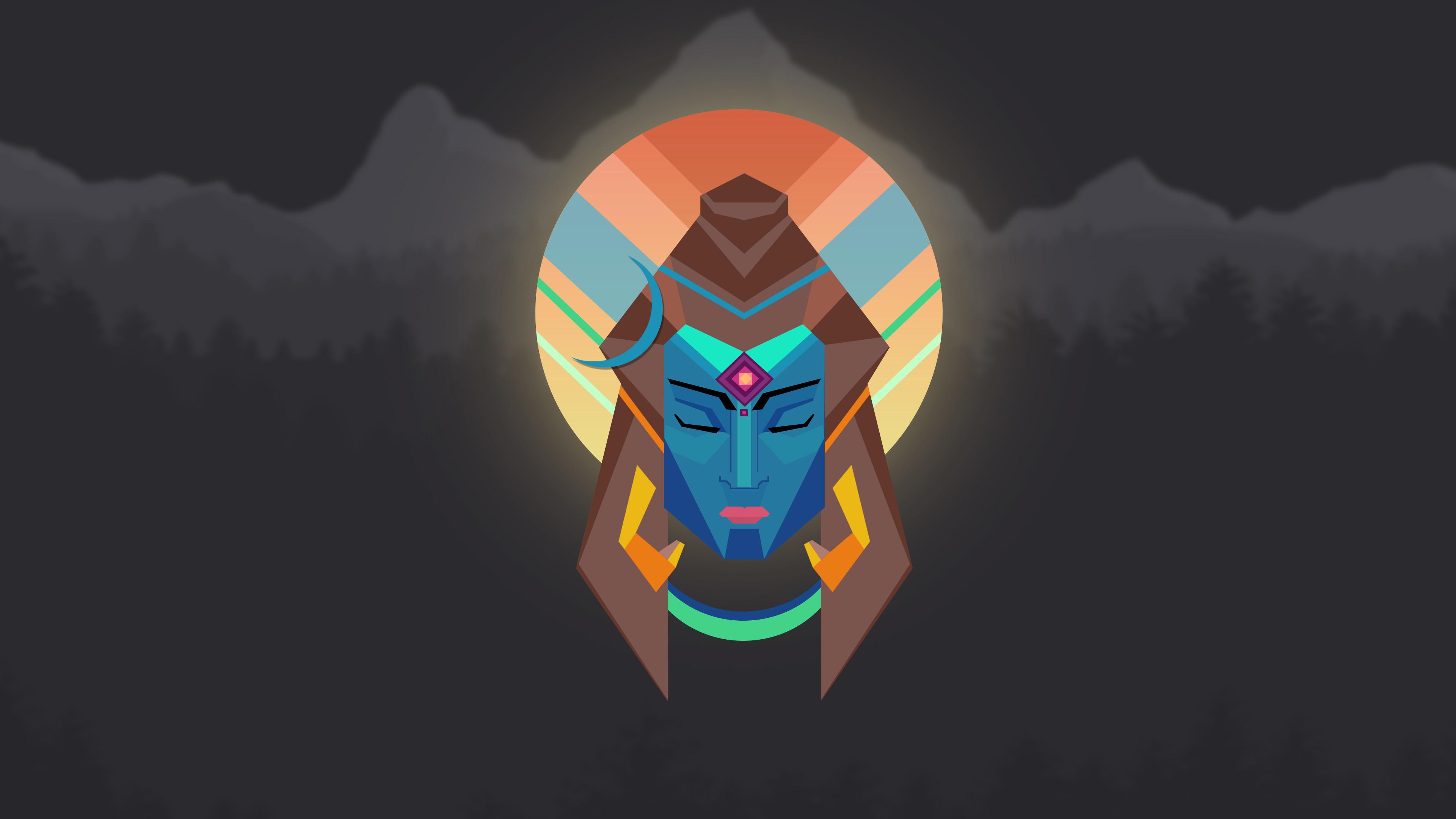 Res: 3840x2160, Lord Shiva Minimal Wallpaper - 4K