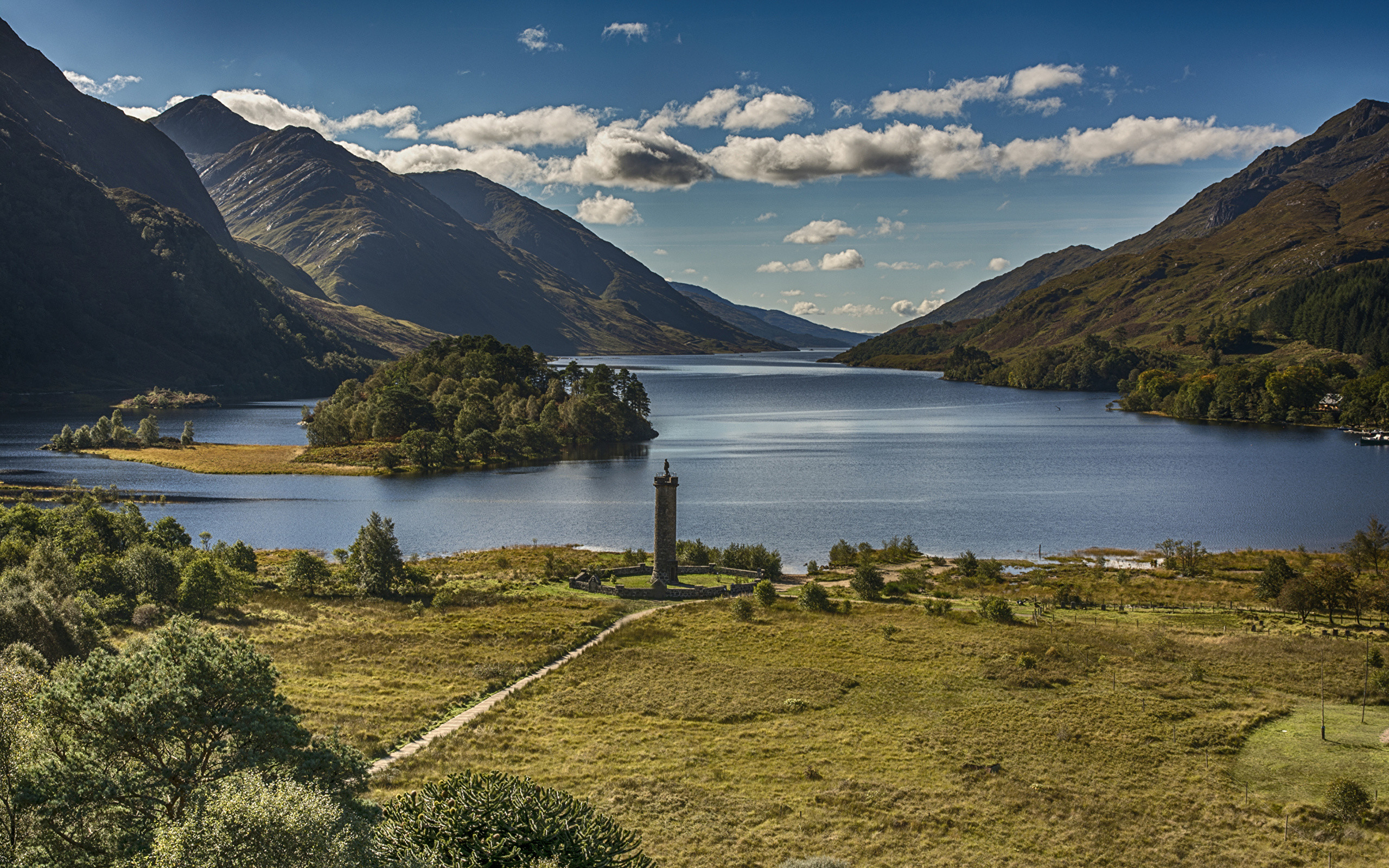 Res: 2560x1600, Wallpaper Scotland Glenfinnan Nature Mountains Lake Landscape photography  Coast Clouds  Scenery