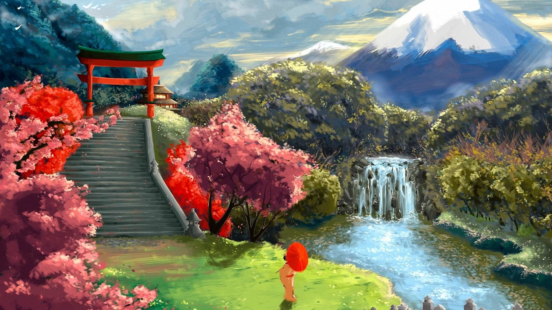 Res: 1920x1080, Japanese Garden Landscape - Painting Art Wallpaper | Wallpaper Studio 10 |  Tens of thousands HD and UltraHD wallpapers for Android, Windows and Xbox