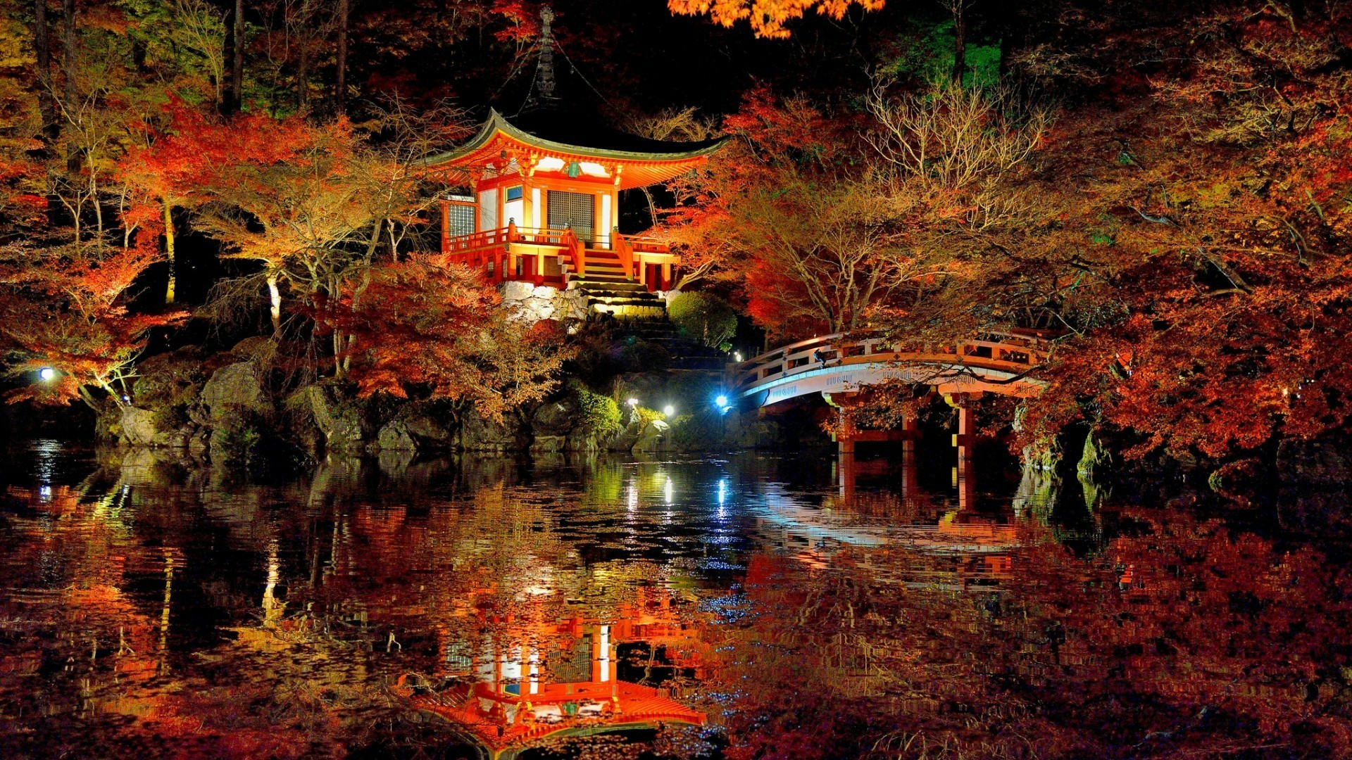 Res: 1920x1080, Autumn Night Over Daigo-ji Temple, Kyoto, Japan Wallpaper | Wallpaper  Studio 10 | Tens of thousands HD and UltraHD wallpapers for Android,  Windows and Xbox