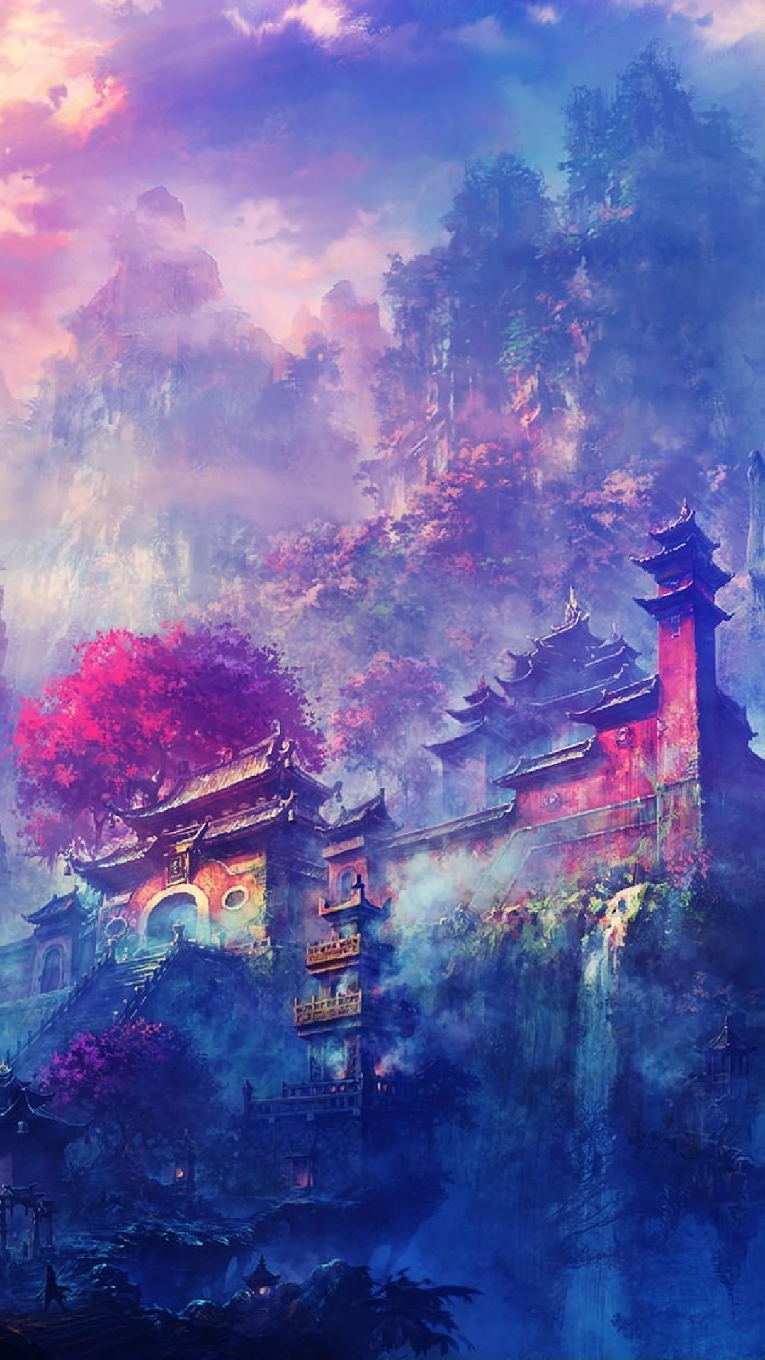 Res: 1080x1920, Japanese art wallpaper. Japanese houses, japan, colors, painting, art,  iPhone