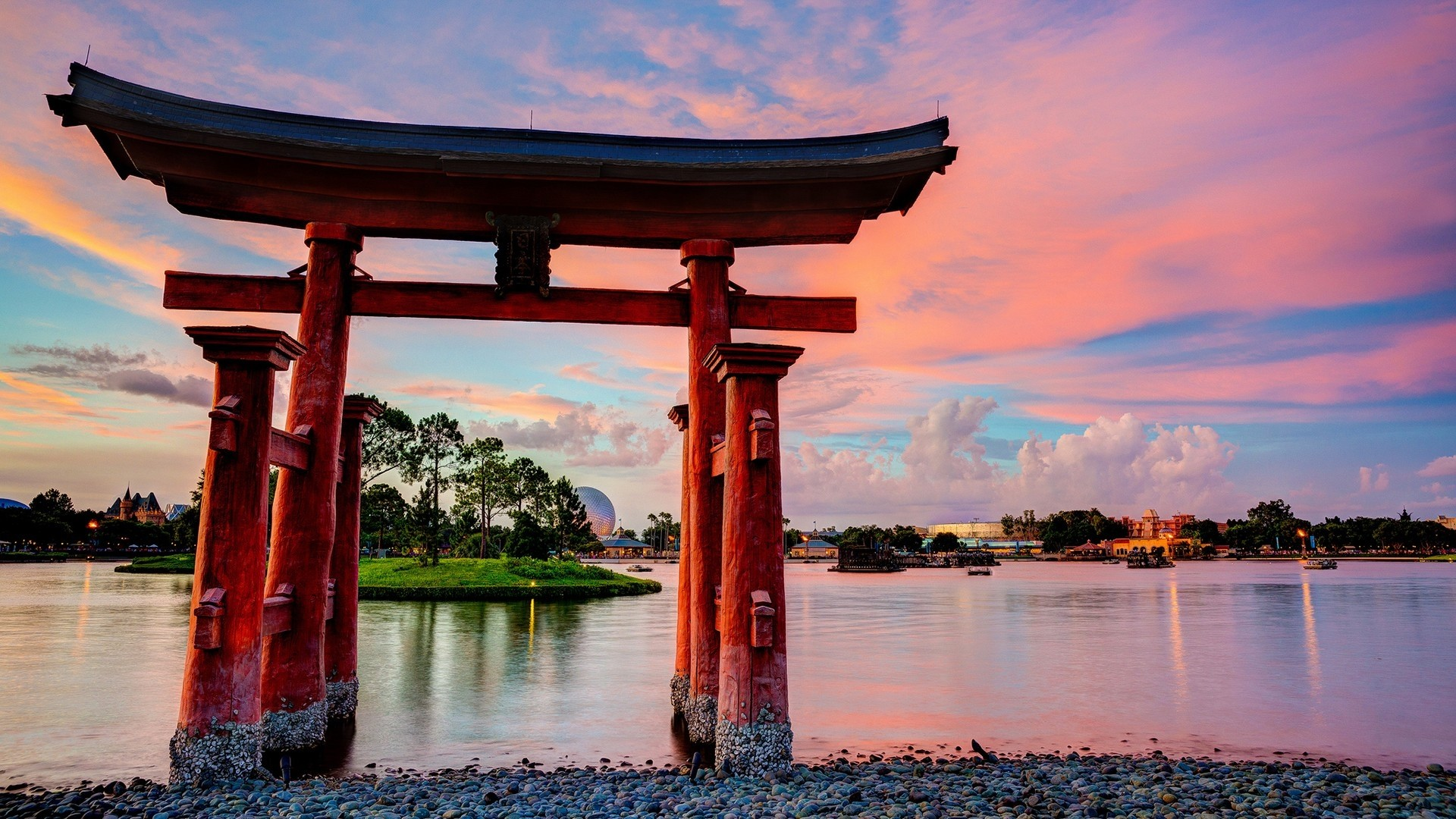 Res: 1920x1080, Exquisite architecture and nature HD Desktop Wallpaper Very beautiful  scenery and exquisite architecture in Japan.