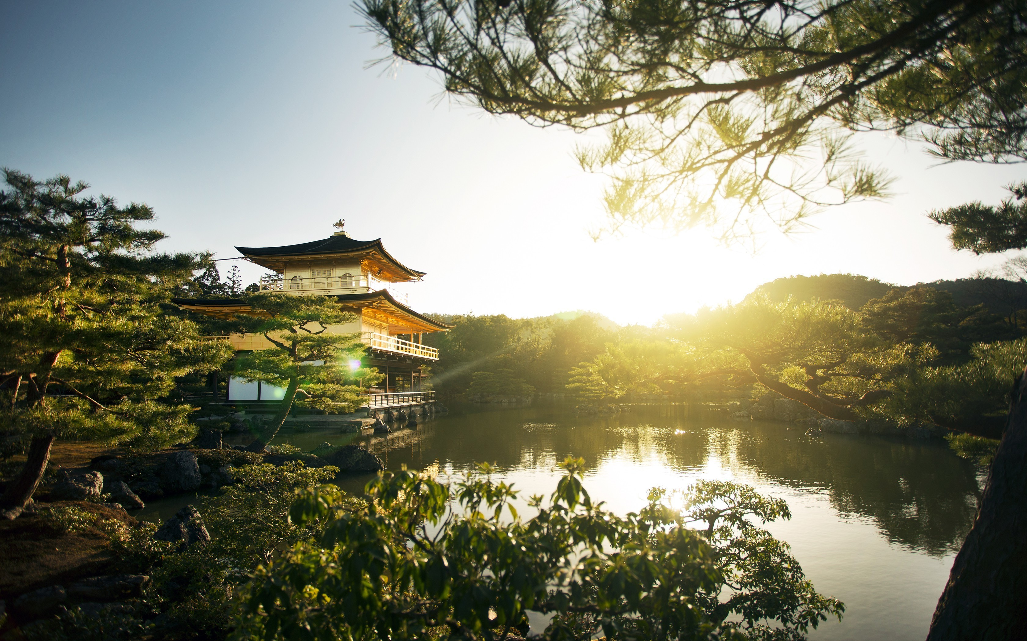 Res: 3360x2100,  landscape, Nature, Sunrise, Park, Kyoto, Trees, Lake, Pagoda