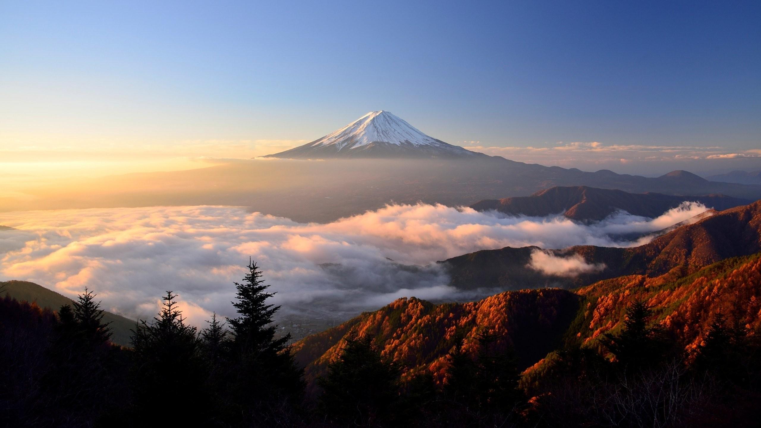 Res: 2560x1440, sunrise, morning, landscape, stratovolcano, volcano, japan, mount, fuji,  clouds Wallpaper HD
