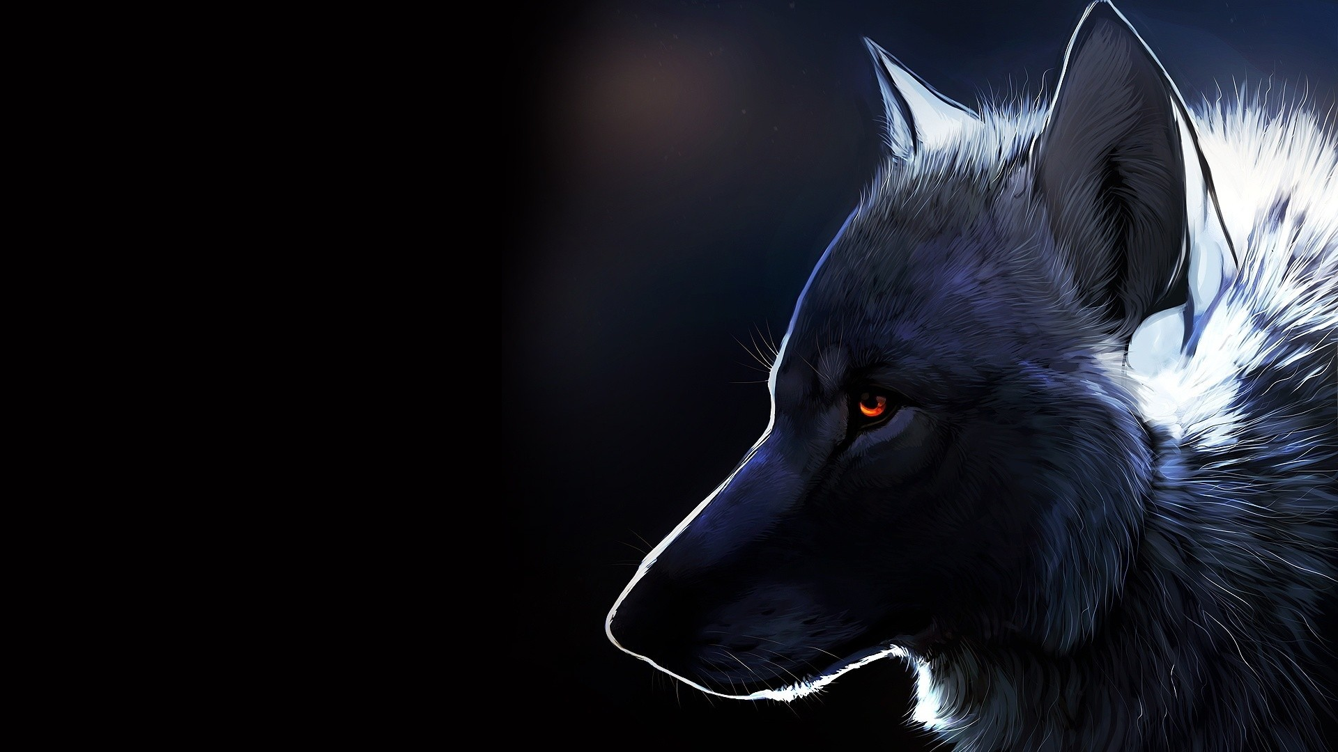 Res: 1920x1080, Wolf, Profile View, Majestic, Red Eyes, Furry