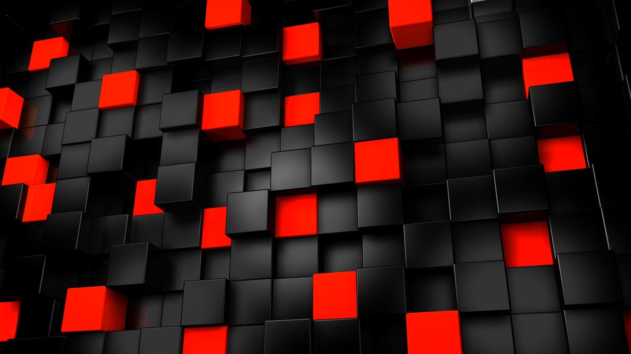 Res: 2560x1440, 3D, Cubes, Black, Red