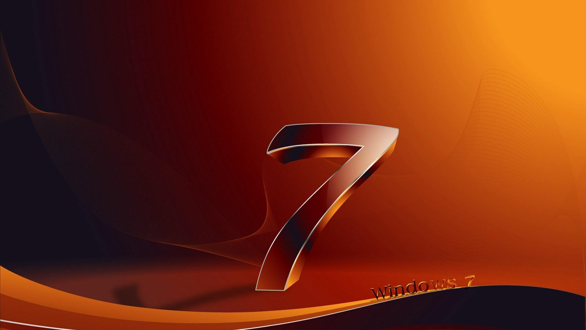 Res: 1920x1080,  Wallpaper windows 7, os, orange, black