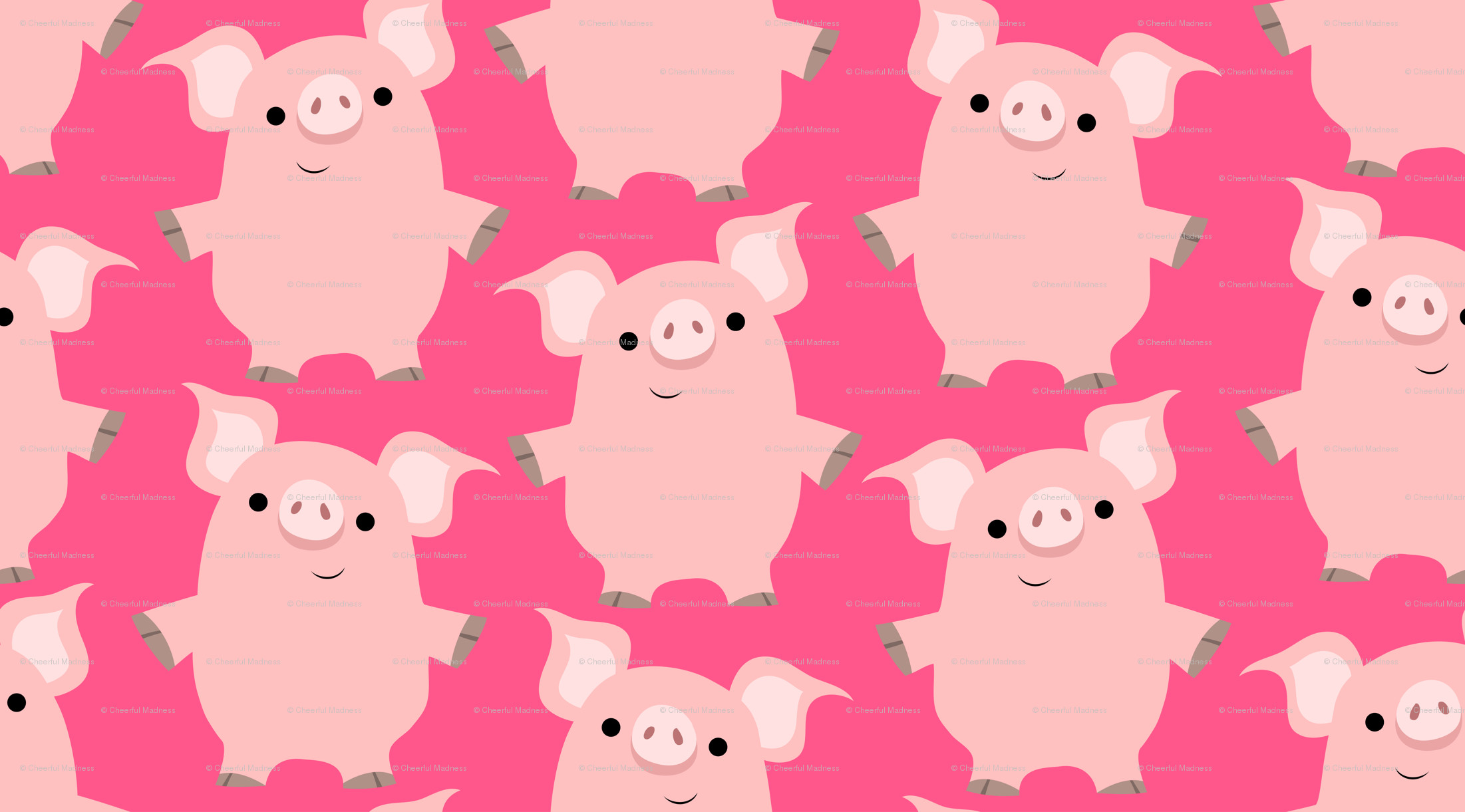 Res: 2202x1221, Cute Friendly Cartoon Pigs by Cheerful Madness!! wallpaper -  cheerfulmadness_cartoons - Spoonflower