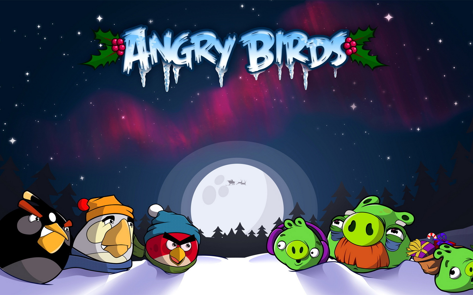 Res: 1920x1200, Angry Birds Christmas Wallpaper