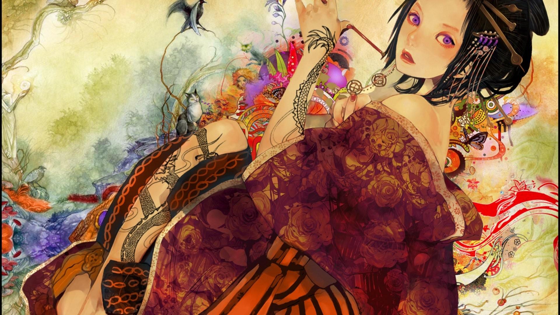 Res: 1920x1080, Tattoos geisha purple eyes Japanese clothes black hair bare shoulders  wallpaper      255268   WallpaperUP