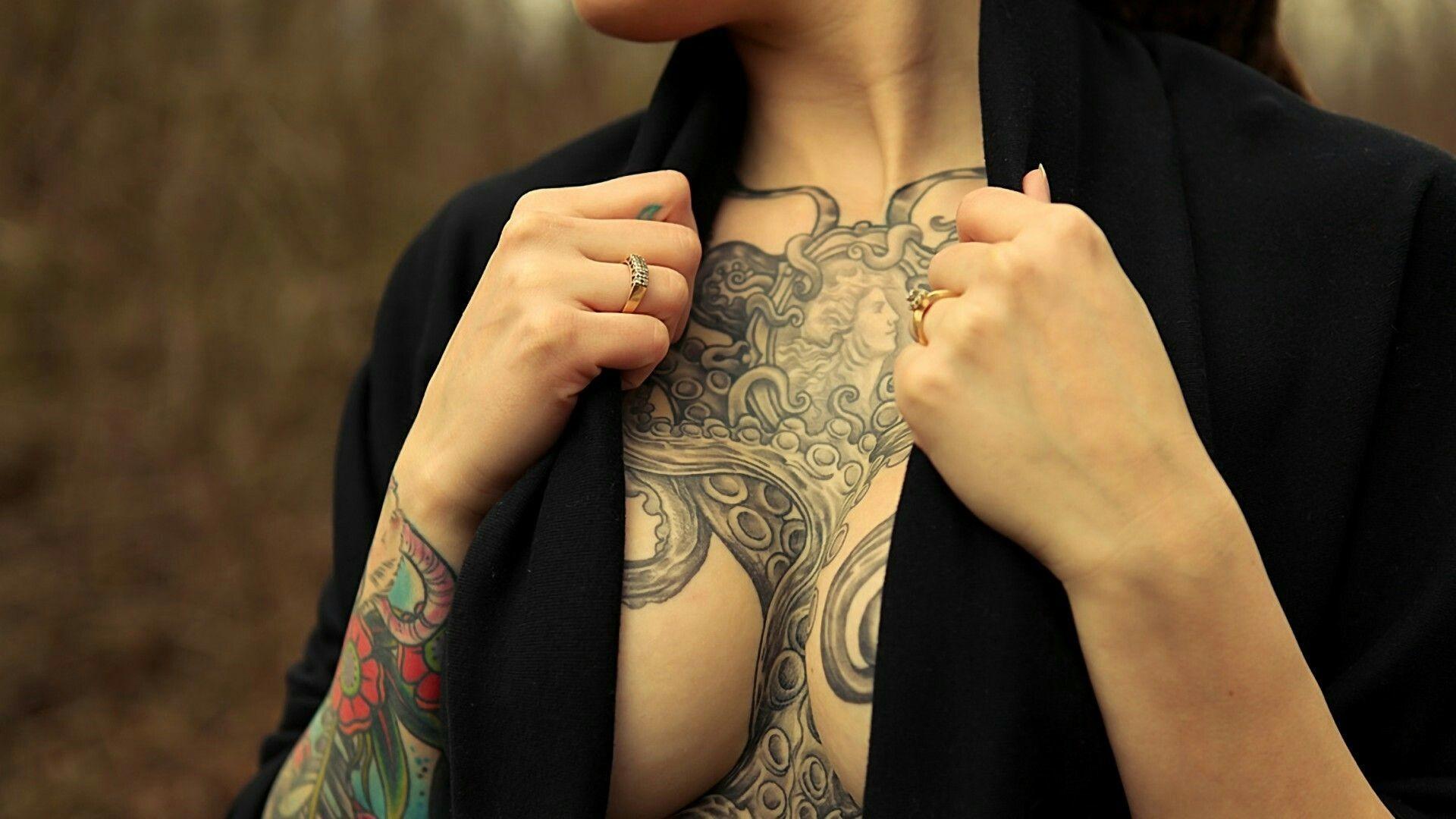 Res: 1920x1080, Best wallpaper of octopus tentacles, desktop wallpaper of tattoo on his  chest, girl