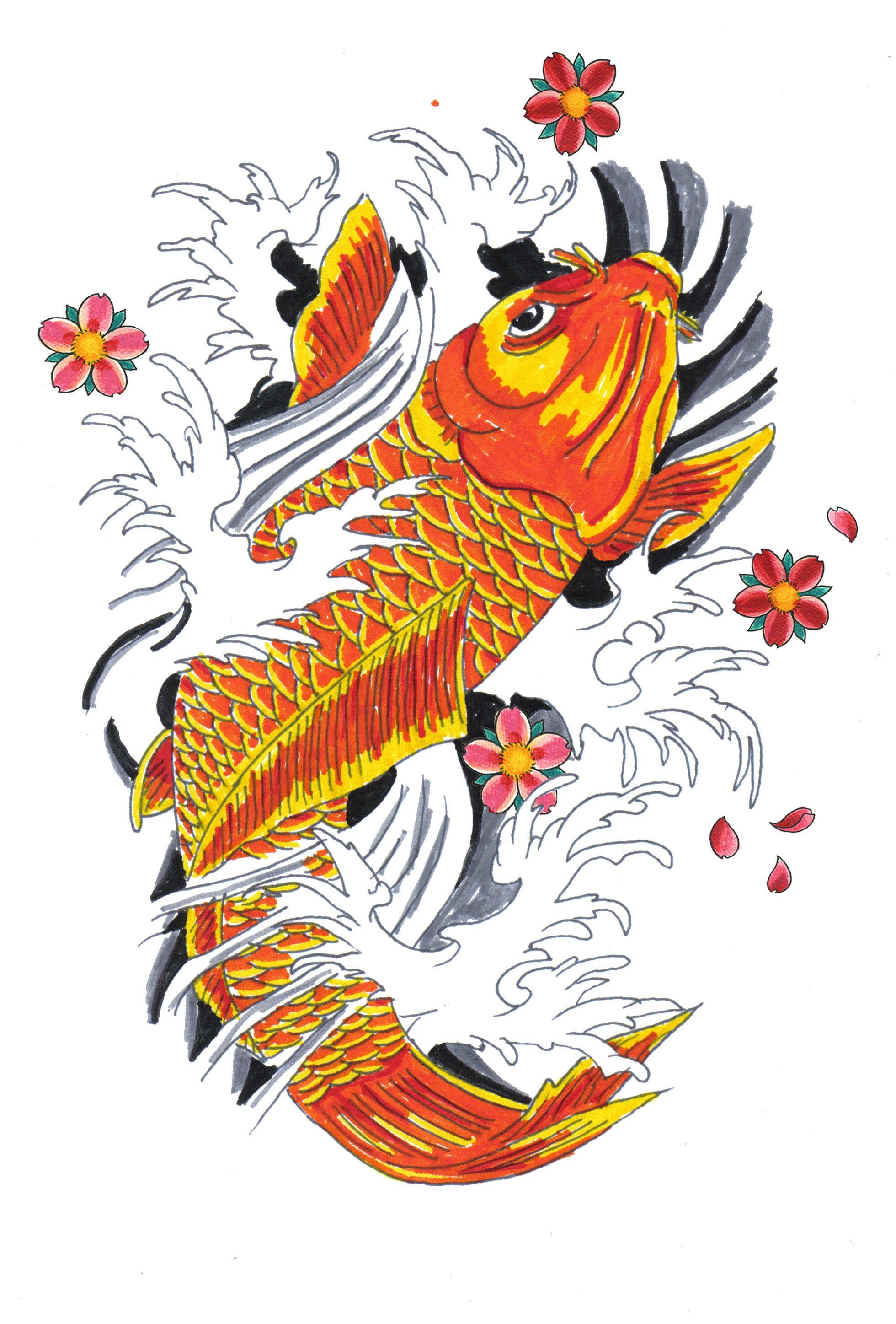 Res: 1960x2894, Japanese Koi Fish Drawings   Koi Fish Tattoo Drawings