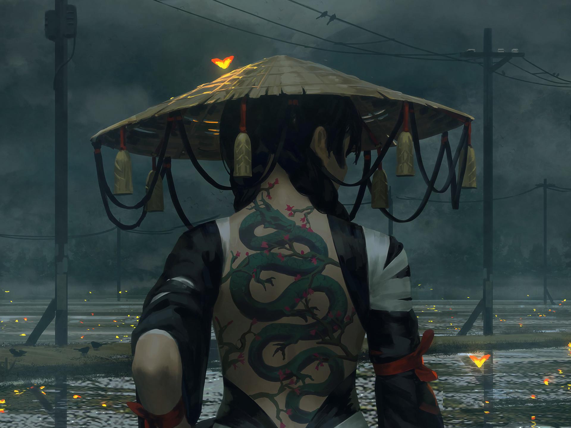 Res: 1920x1440, Fantasy - Women Fantasy Woman Girl Japanese Tattoo Hat Snake Wallpaper