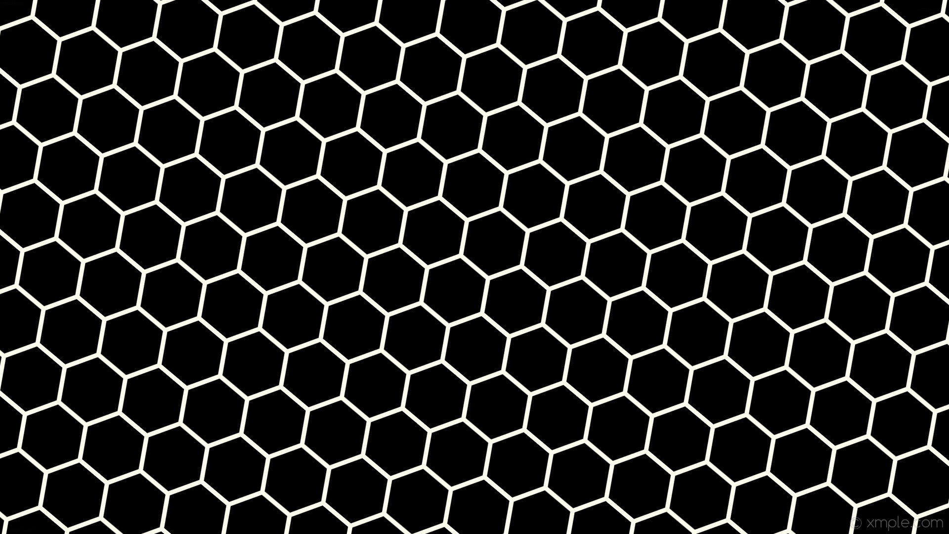 Res: 1920x1080, wallpaper beehive black honeycomb white hexagon ivory #000000 #fffff0  diagonal 50° 9px 125px