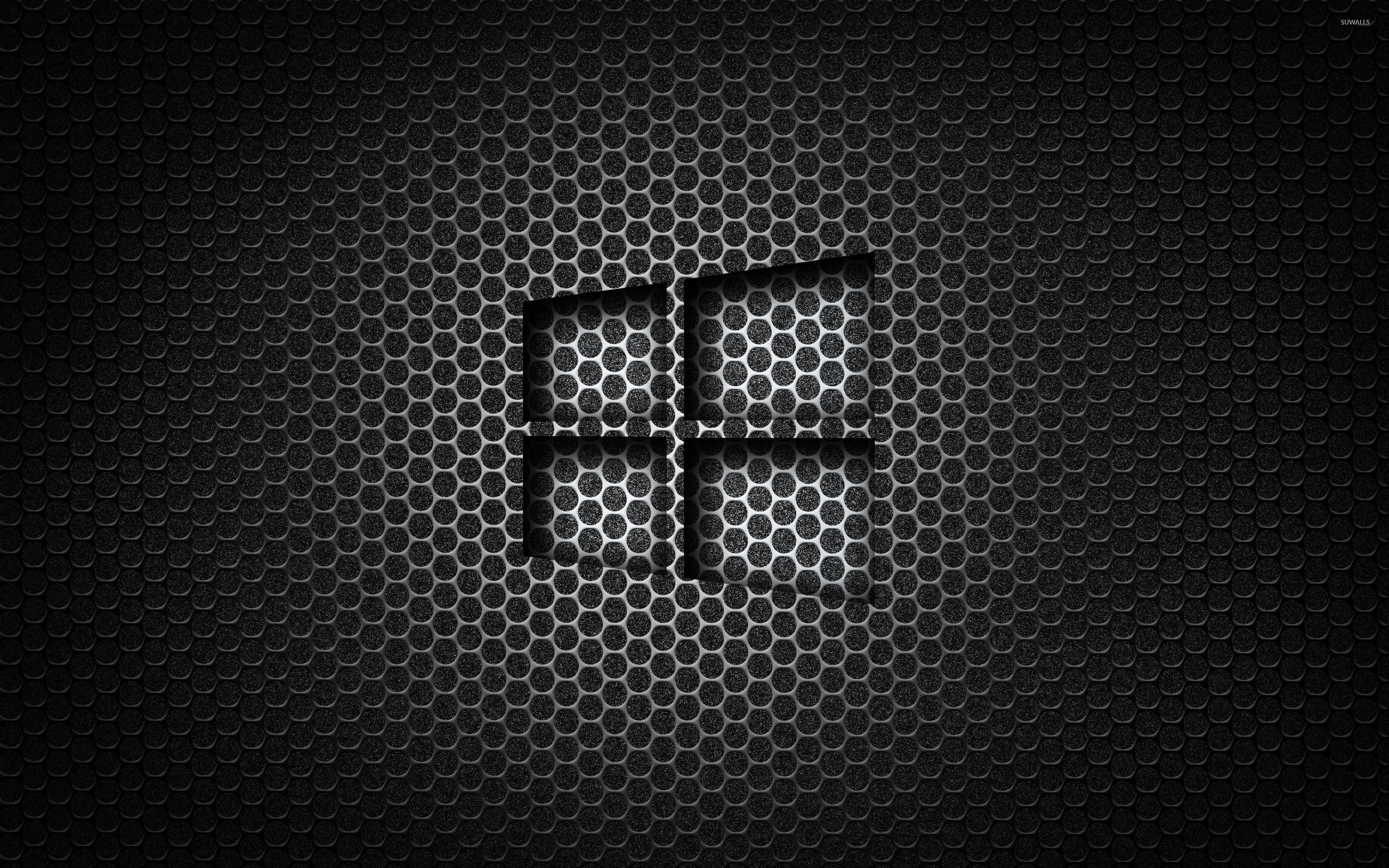 Res: 2880x1800, Windows 10 transparent logo on honeycomb pattern wallpaper
