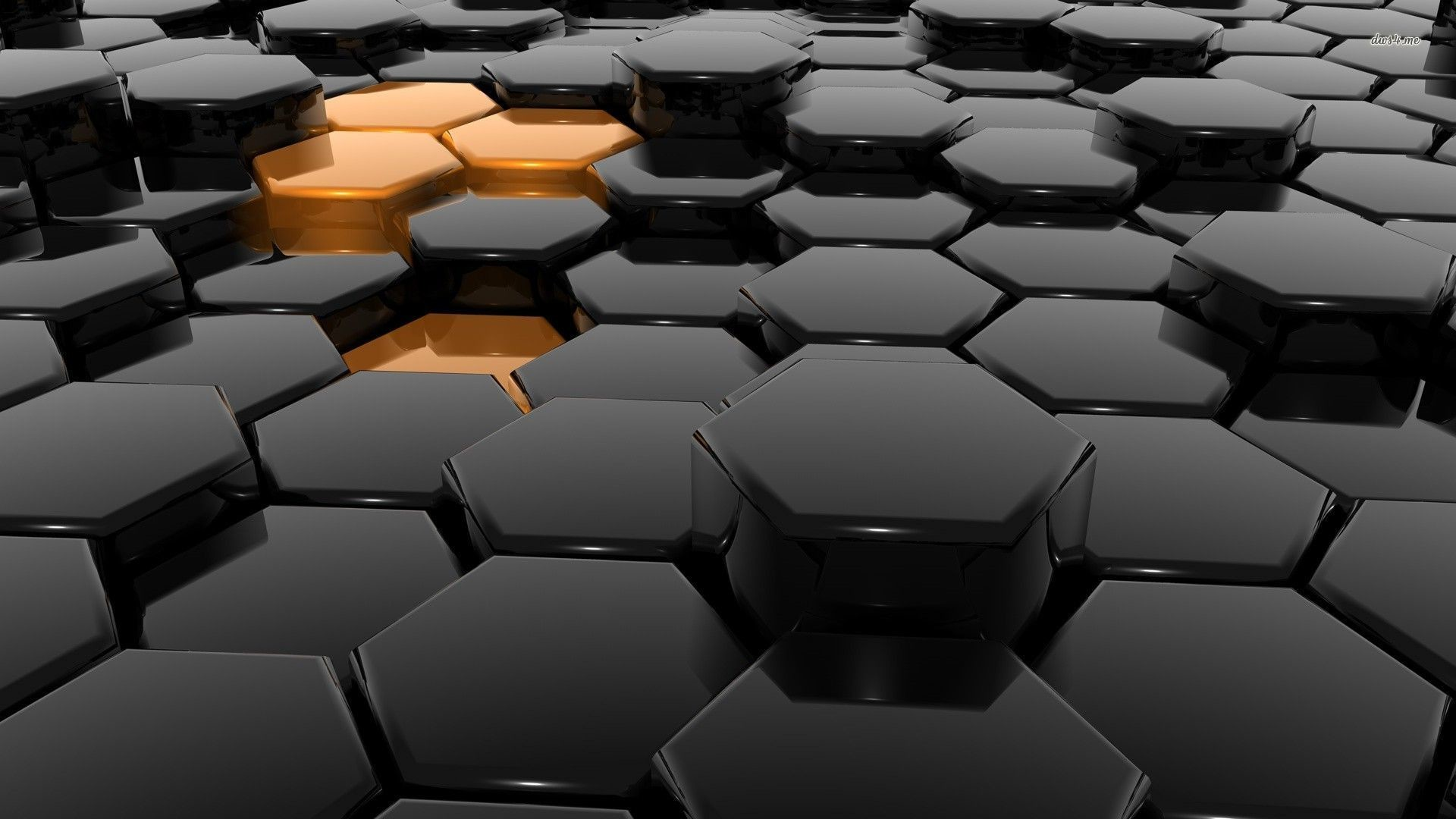 Res: 1920x1080, ... Golden hexagons in the black honeycomb wallpaper  ...
