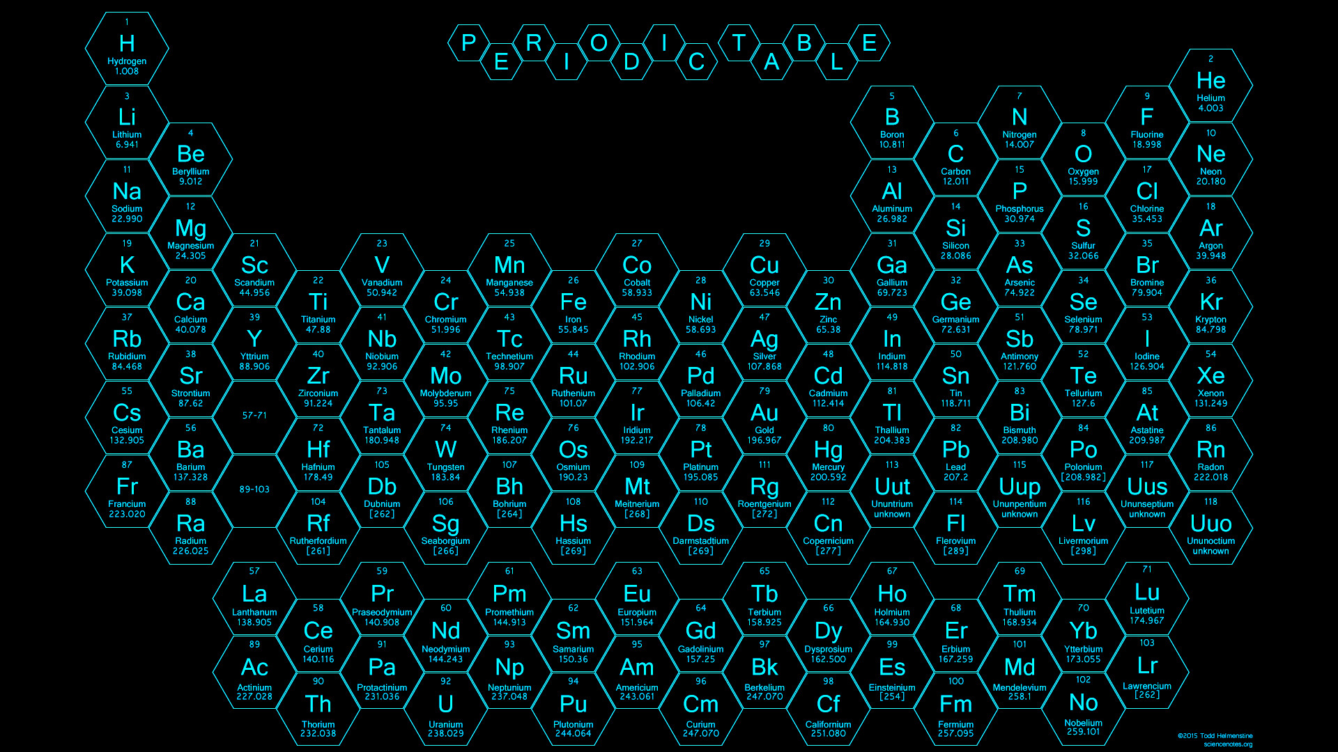 Res: 1920x1080, 2015 - Honeycomb Periodic Table - Blue