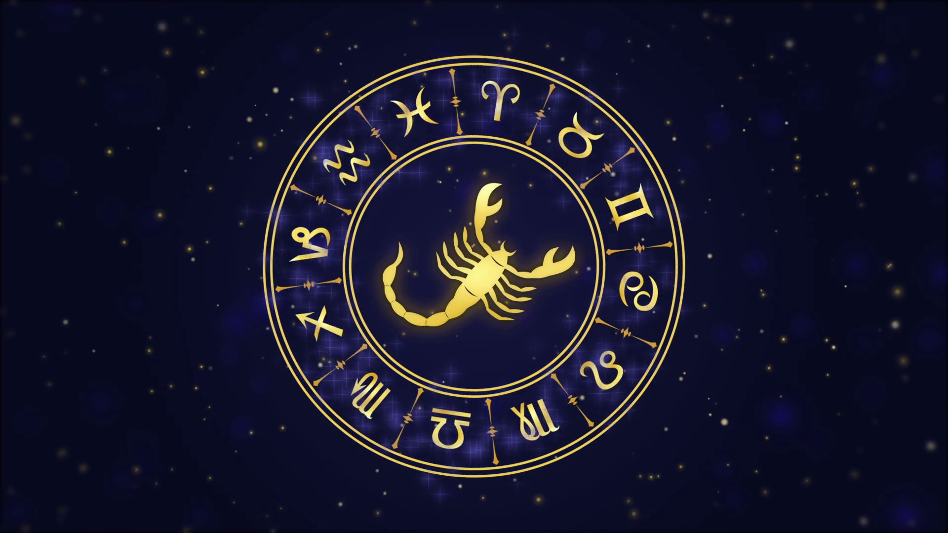 Res: 1920x1080, Zodiac sign Scorpio and horoscope wheel on the dark blue background Stock  Video Footage - Videoblocks