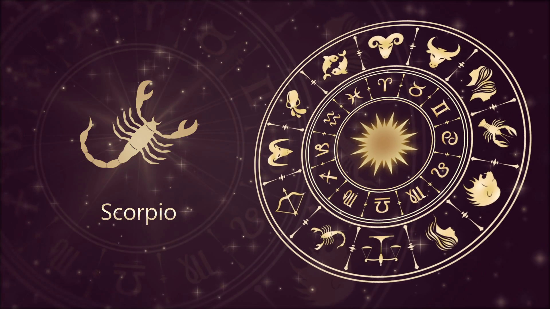 Res: 1920x1080, Zodiac sign Scorpio and horoscope wheel Stock Video Footage - Videoblocks