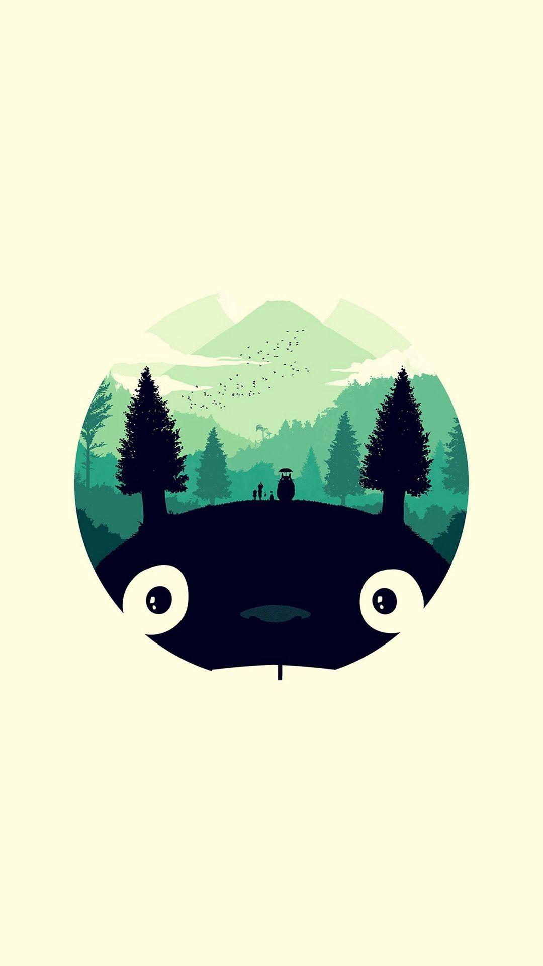 Res: 1080x1920, Totoro Art Illust Simple Cute #iPhone #7 #wallpaper