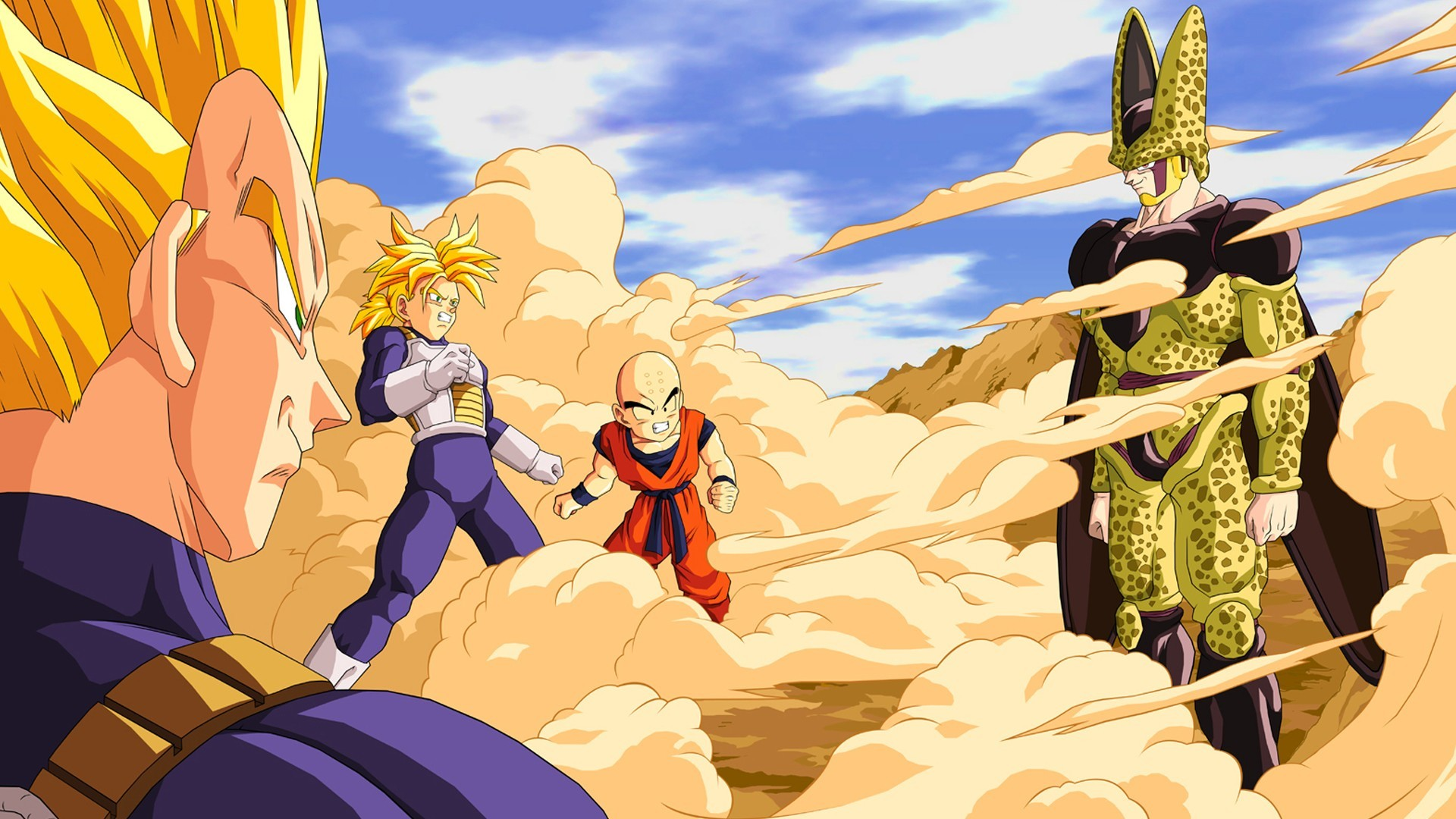 Res: 1920x1080, dragon ball super saiyan cell character trunks character vegeta krillin  perfect cell anime wallpaper and background