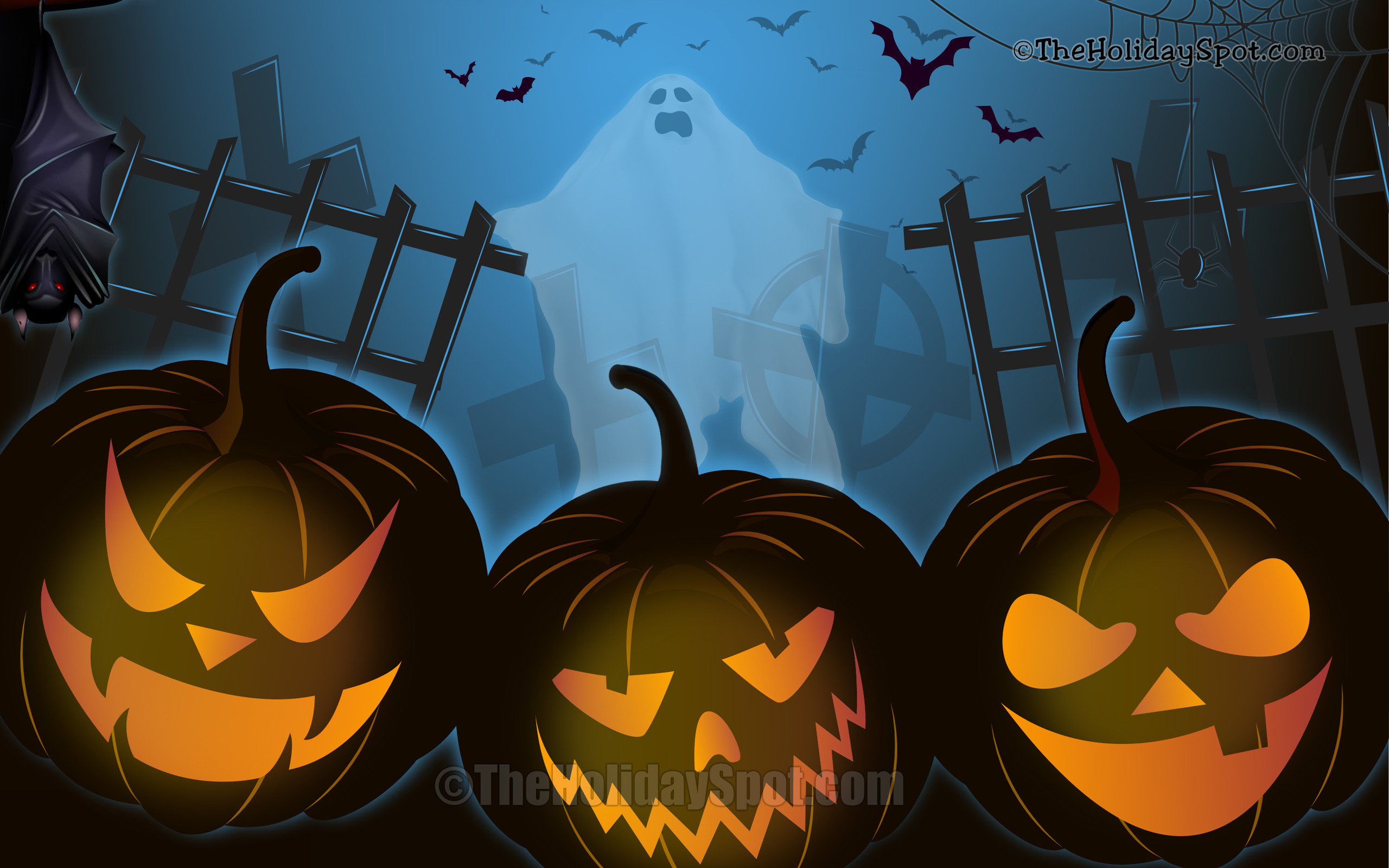 Res: 2560x1600, Wallpaper - Halloween Night with bat, pumpkins and ghost