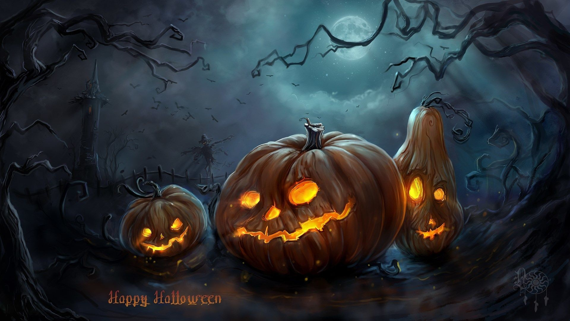 Res: 1920x1080, Scary Halloween HD Wallpapers Pumpkins, Witches, Spider Web 1920×1080 Halloween  Wallpapers (