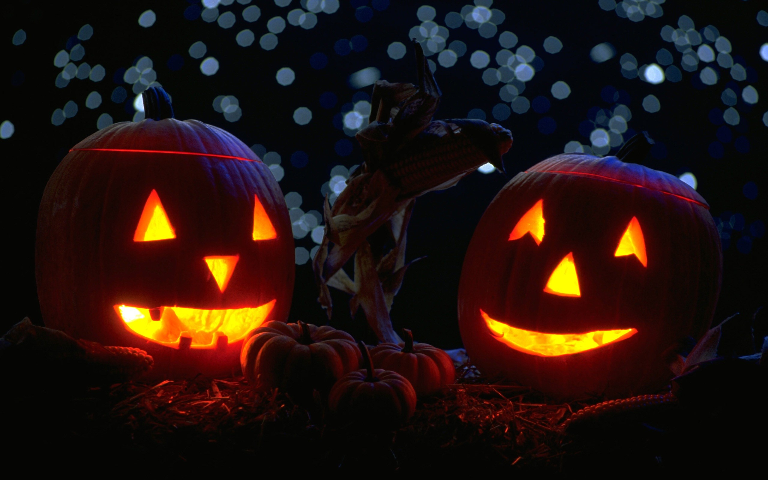Res: 2560x1600, Halloween Pumpkin Candles