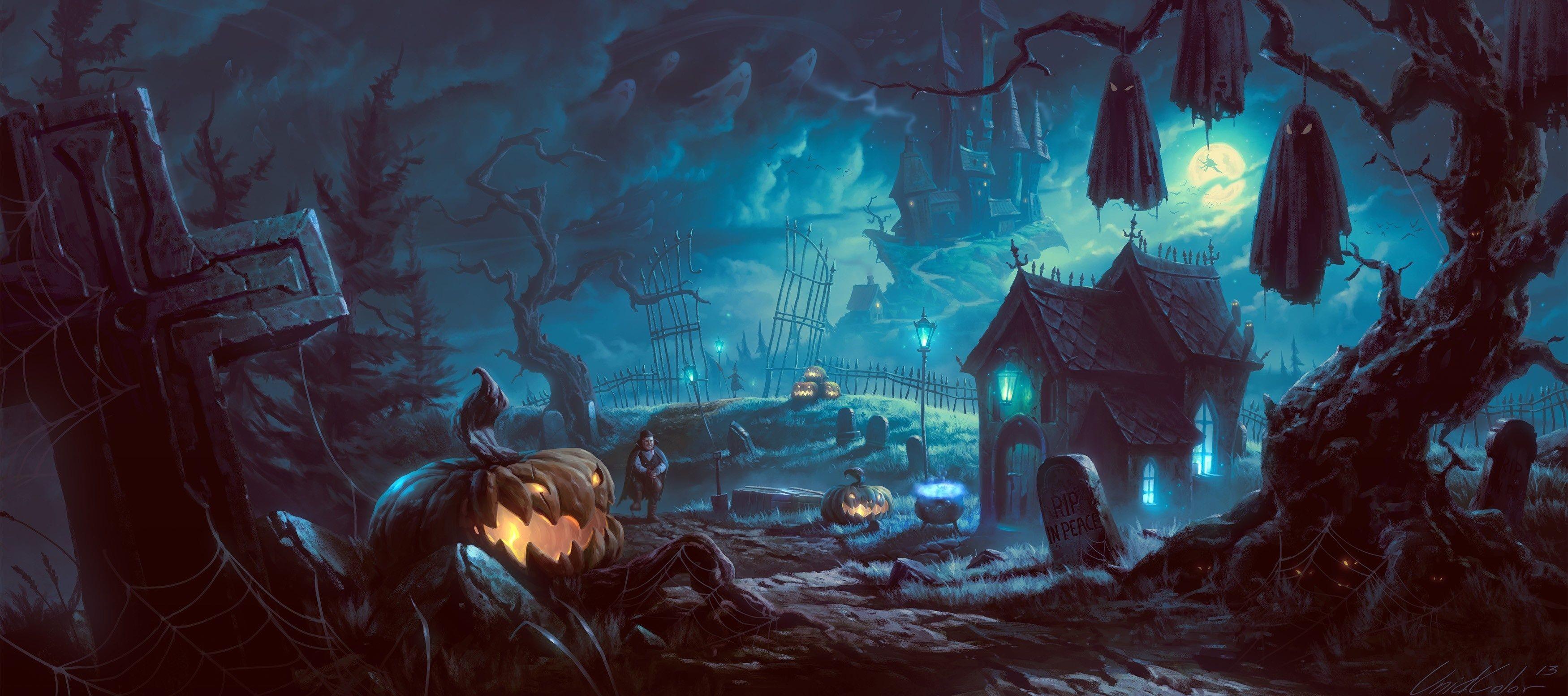 Res: 3500x1553, Halloween Pumpkins Pattern HD desktop wallpaper High Definition