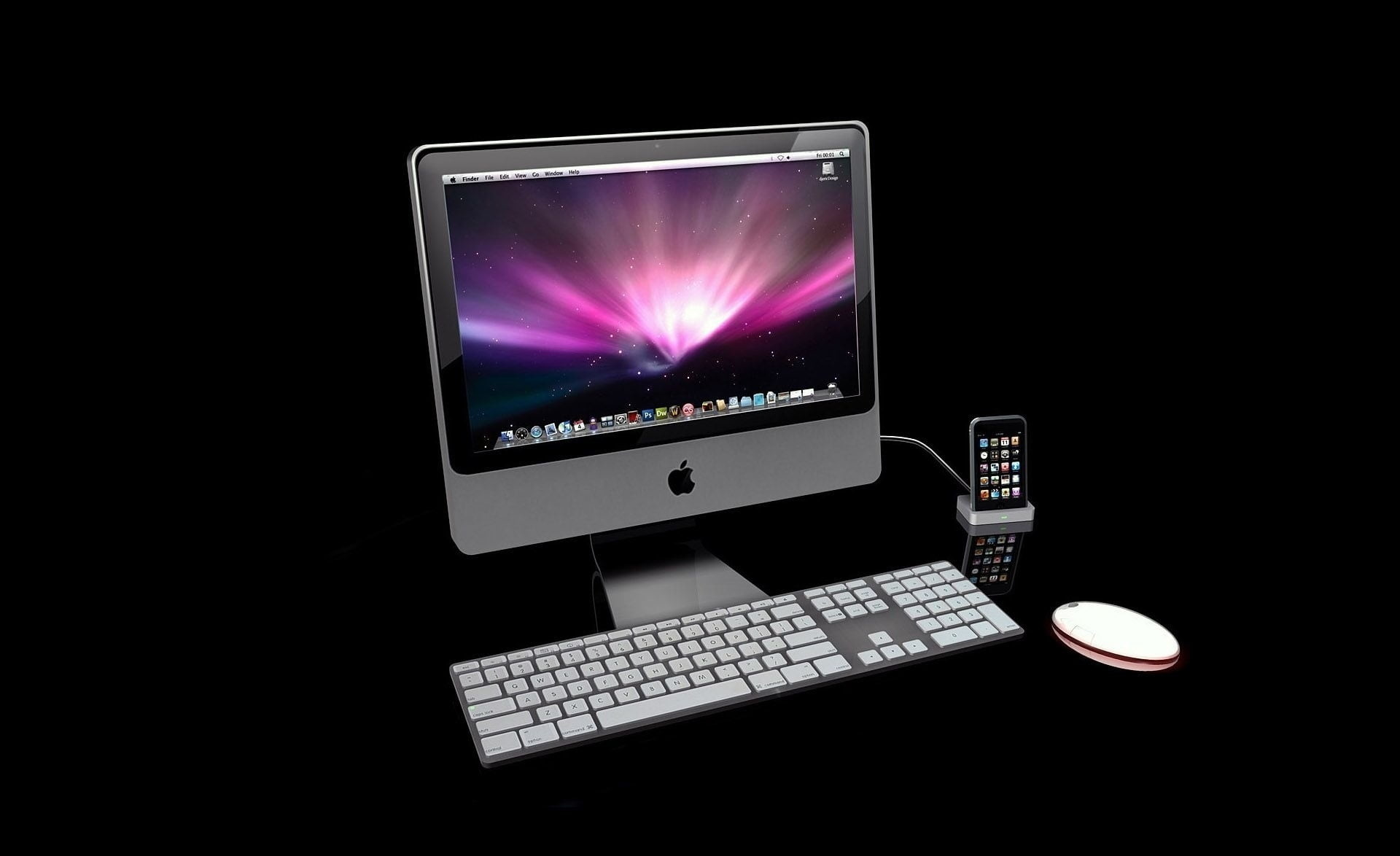 Res: 1920x1174, silver iMac with wireless Apple computer keyboard and mighty mouse HD  wallpaper