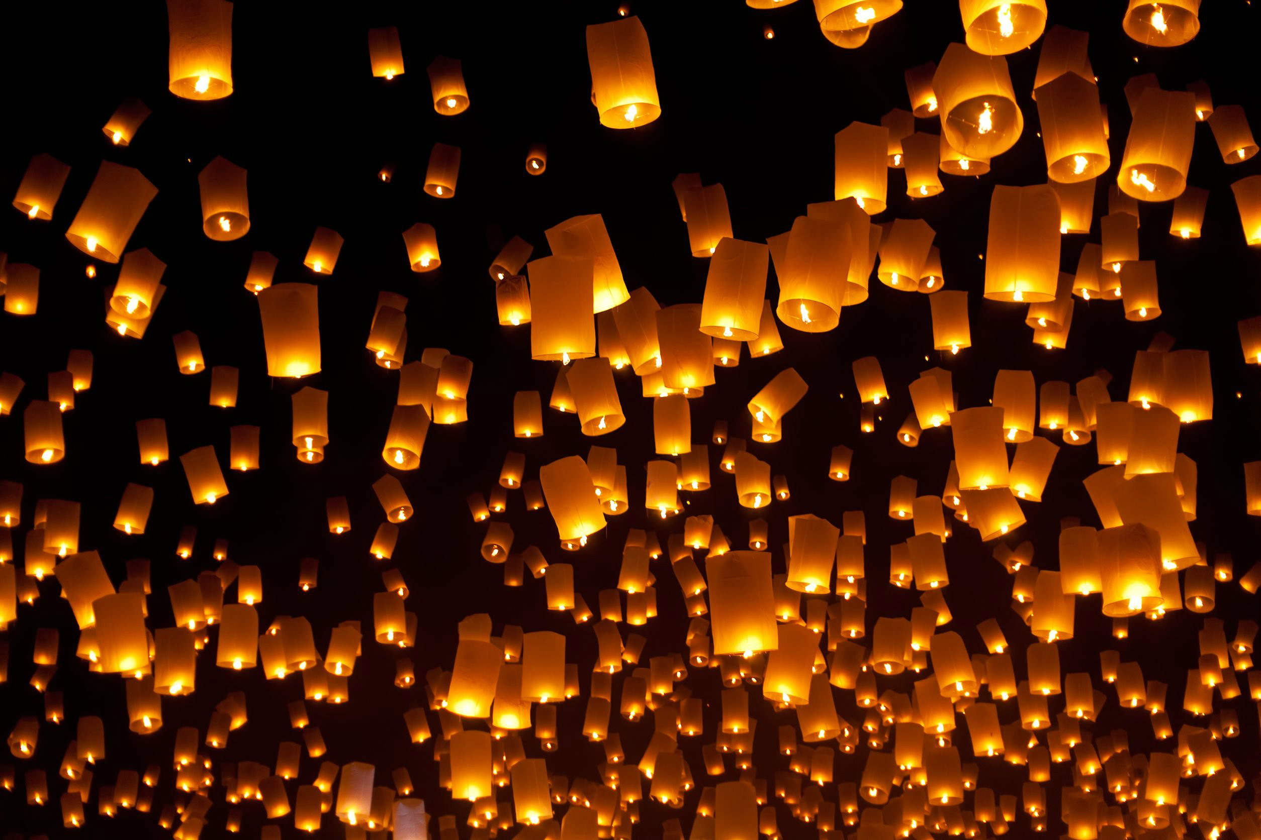 Res: 2508x1672, Sky Lantern festival, Thailand