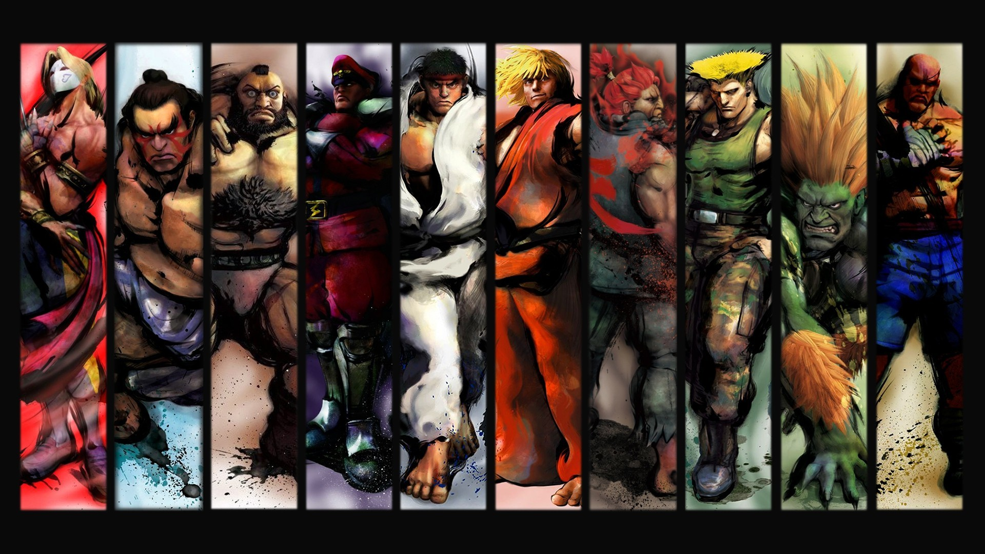 Res: 1920x1080, Video games ryu sagat street fighter iv akuma ken zangief blanka vega e  honda guile